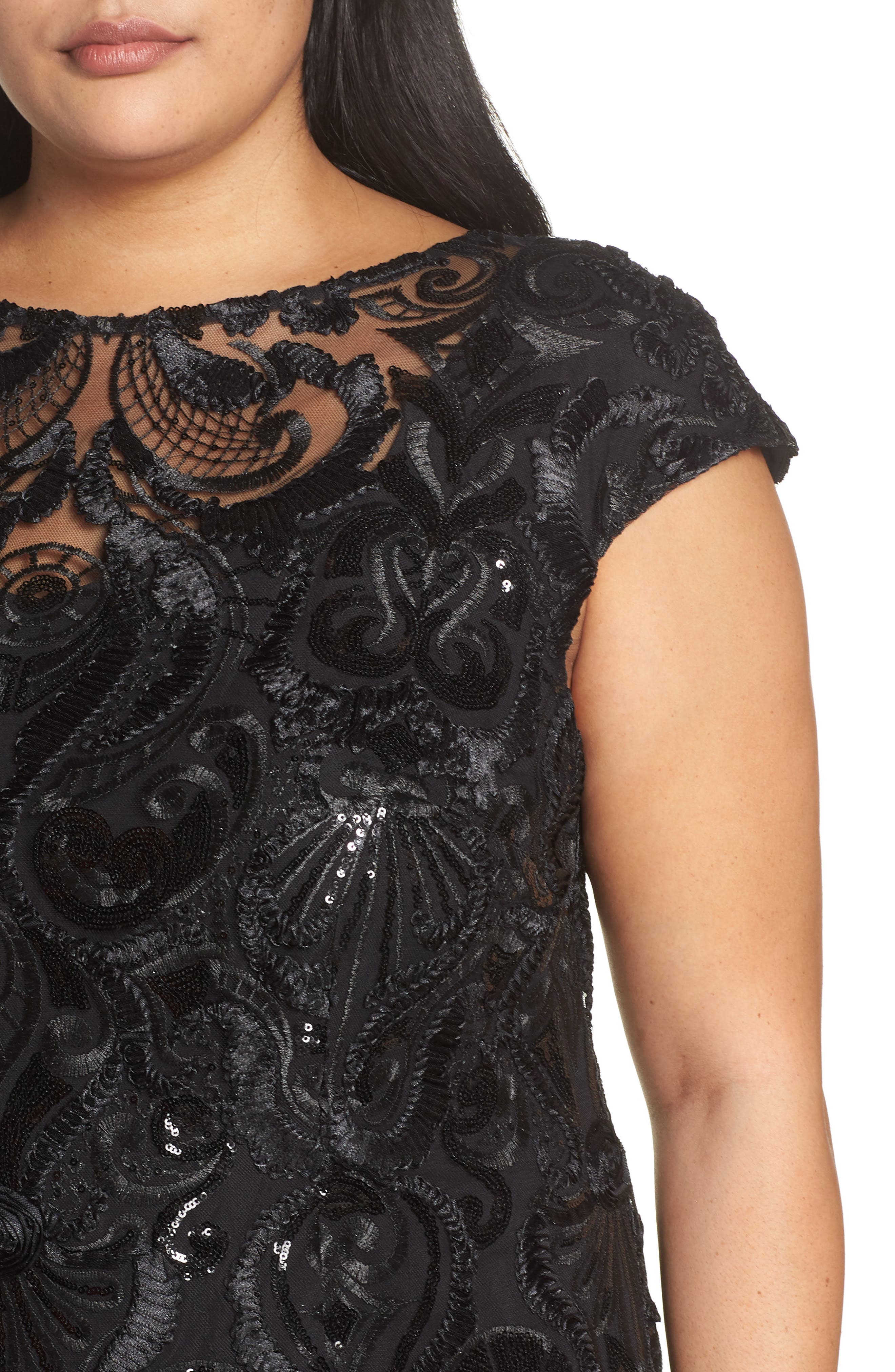 Sequin Embroidered Sheath Dress,                             Alternate thumbnail 4, color,                             001