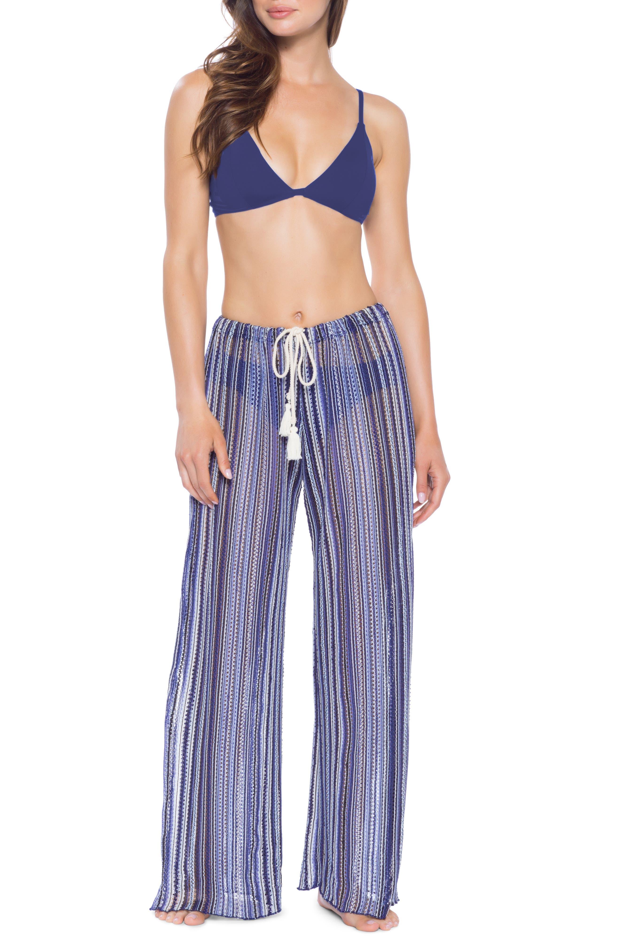 Pierside Cover-Up Flyaway Pants, Main, color, INDIGO