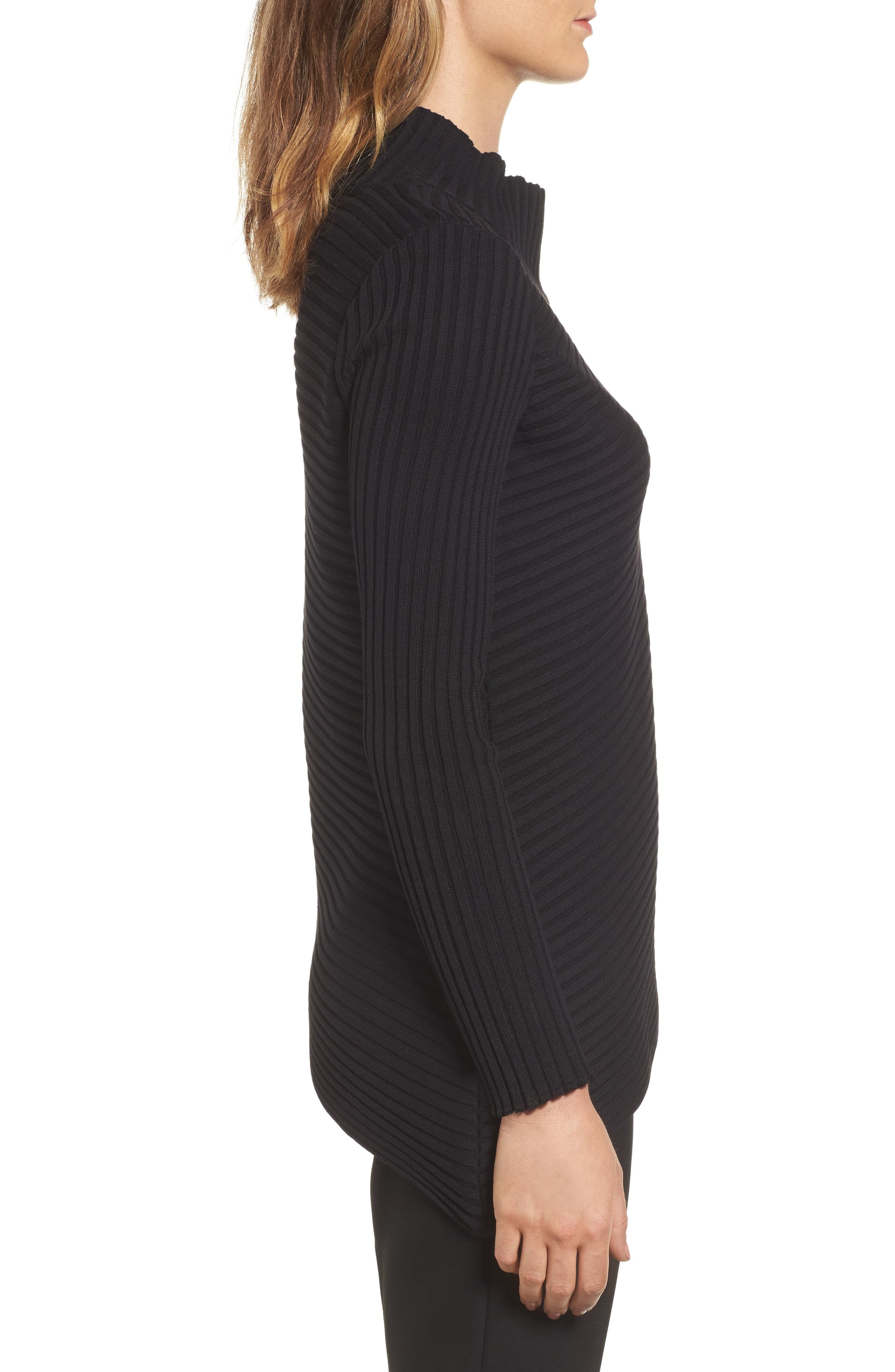 Ribbed Asymmetrical Sweater,                             Alternate thumbnail 3, color,                             001