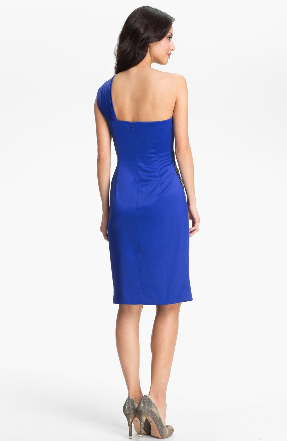 Beaded One-Shoulder Satin Dress,                             Alternate thumbnail 17, color,