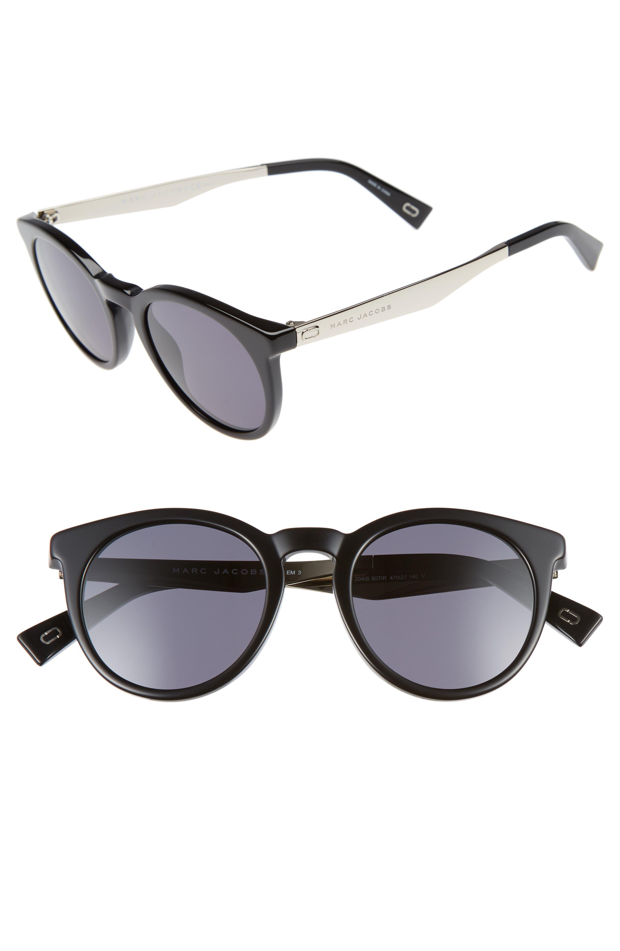 47mm Keyhole Sunglasses,                             Main thumbnail 1, color,                             001