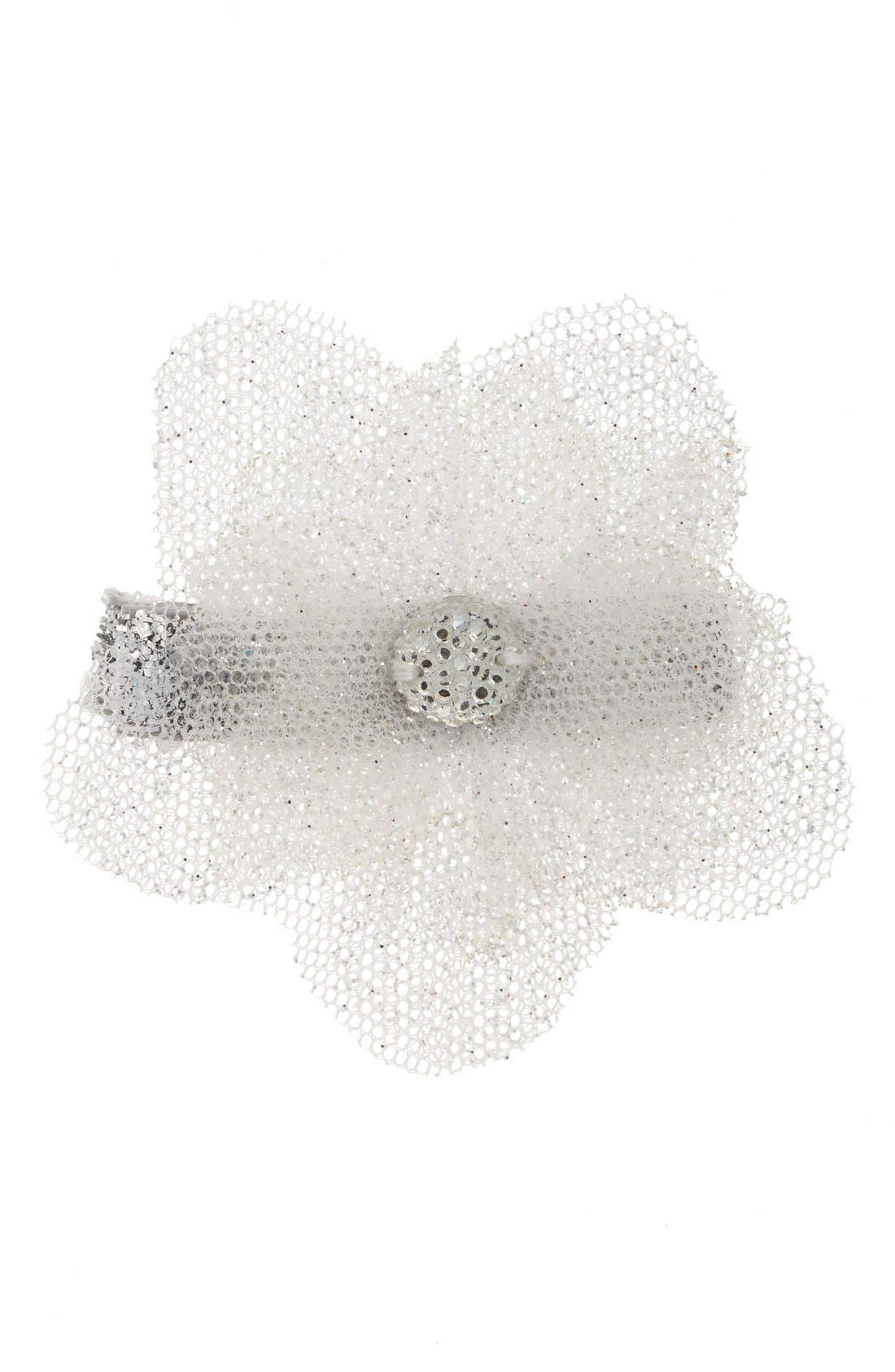 Glitter Flower Hair Clip,                         Main,                         color, SILVER