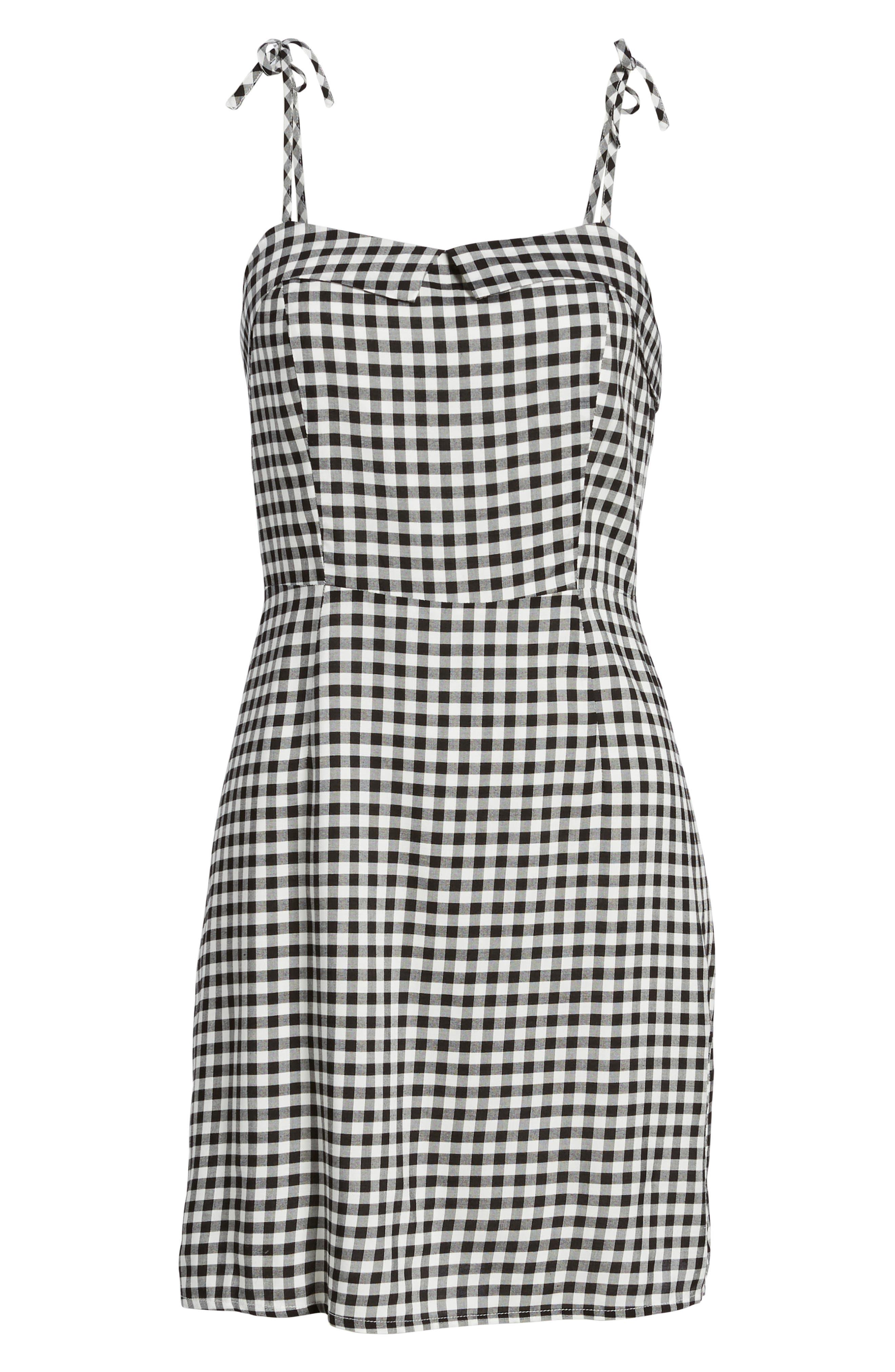 Eddie Gingham Dress,                             Alternate thumbnail 6, color,                             BLACK