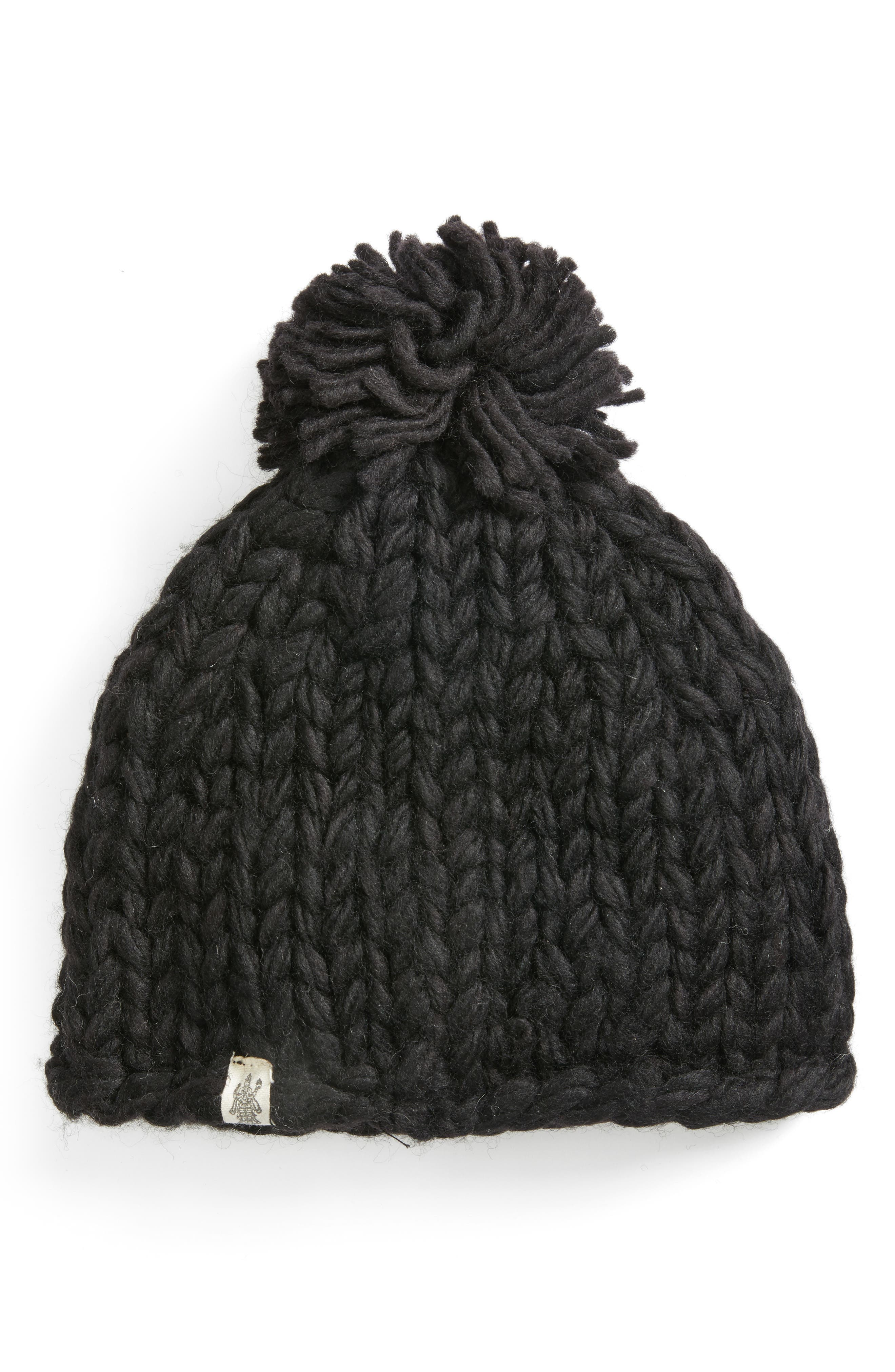 Chunky Knit Pompom Beanie, Main, color, BLACK