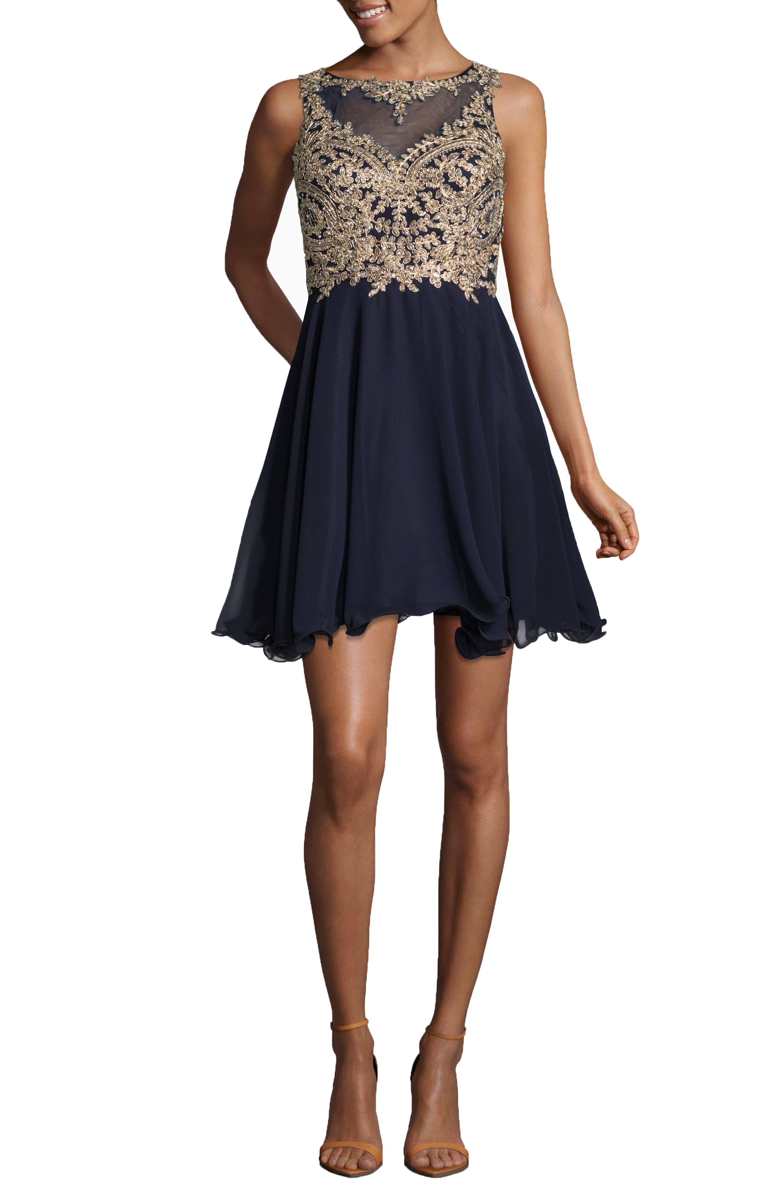 XSCAPE,                             Mesh Appliqué Party Dress,                             Main thumbnail 1, color,                             410