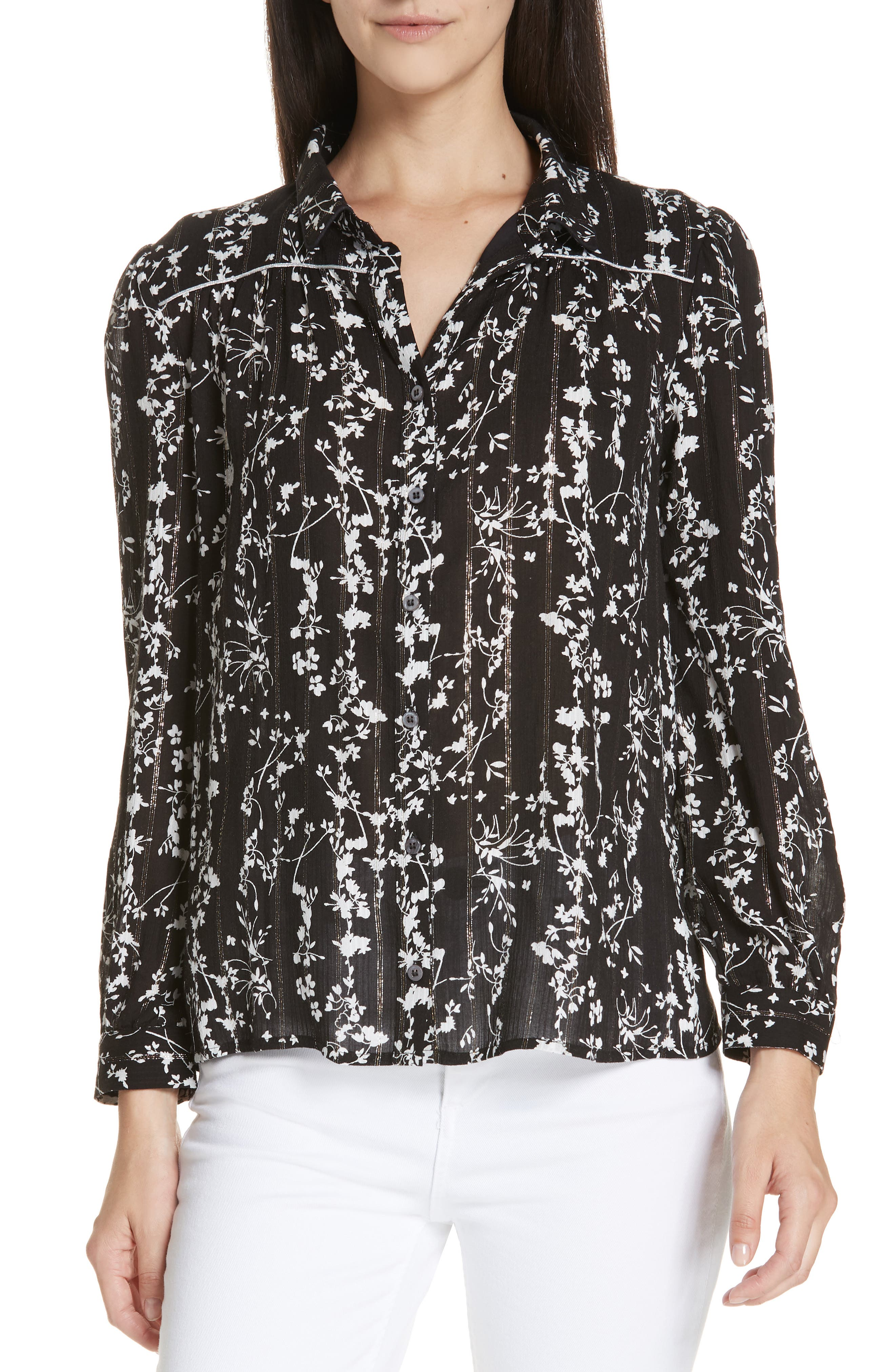 Fiona Metallic Accent Floral Top,                             Main thumbnail 1, color,                             BLACK