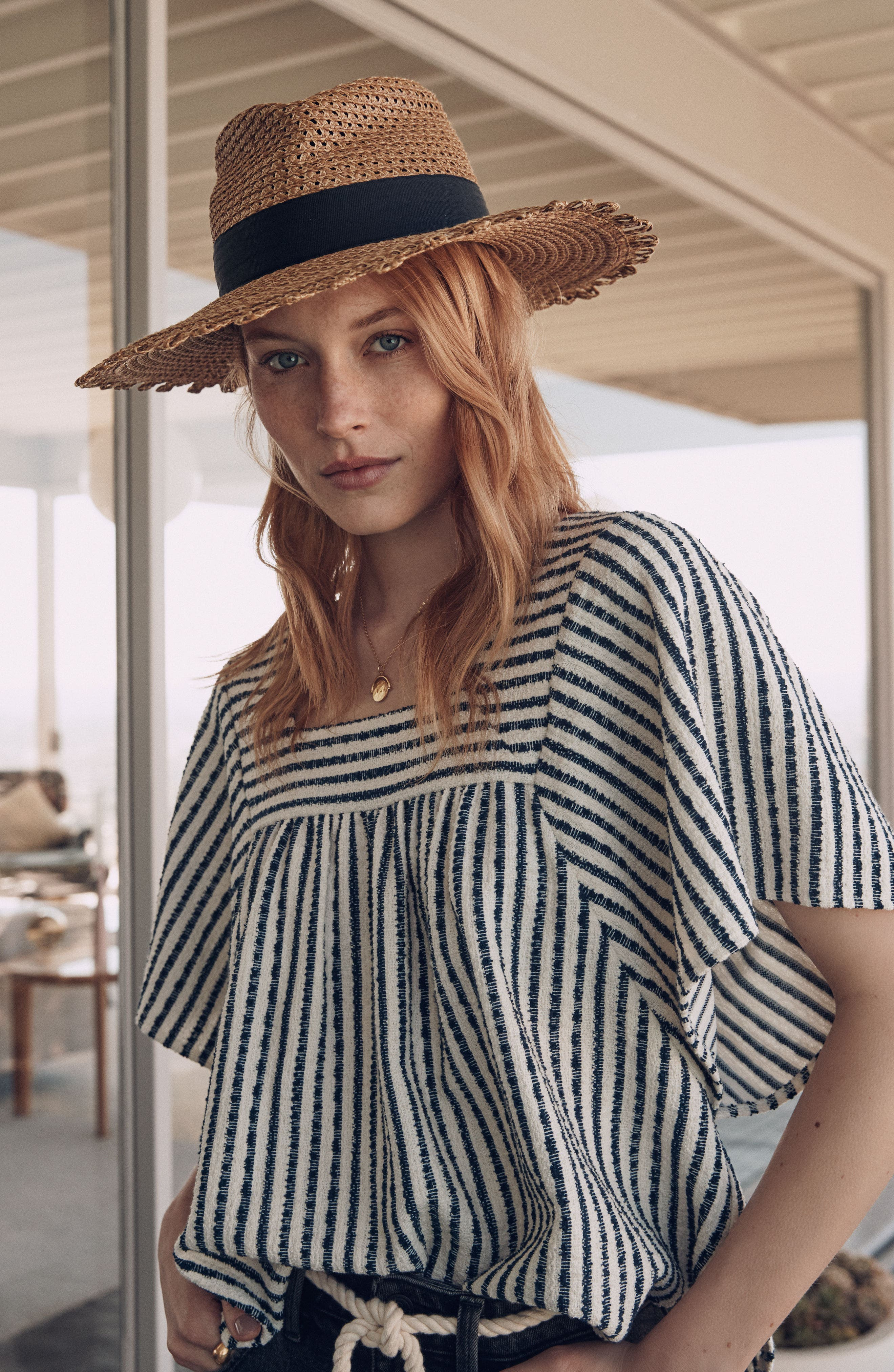 Cannes Squishee<sup>®</sup> Straw Hat,                             Alternate thumbnail 5, color,                             NATURAL/ BLACK