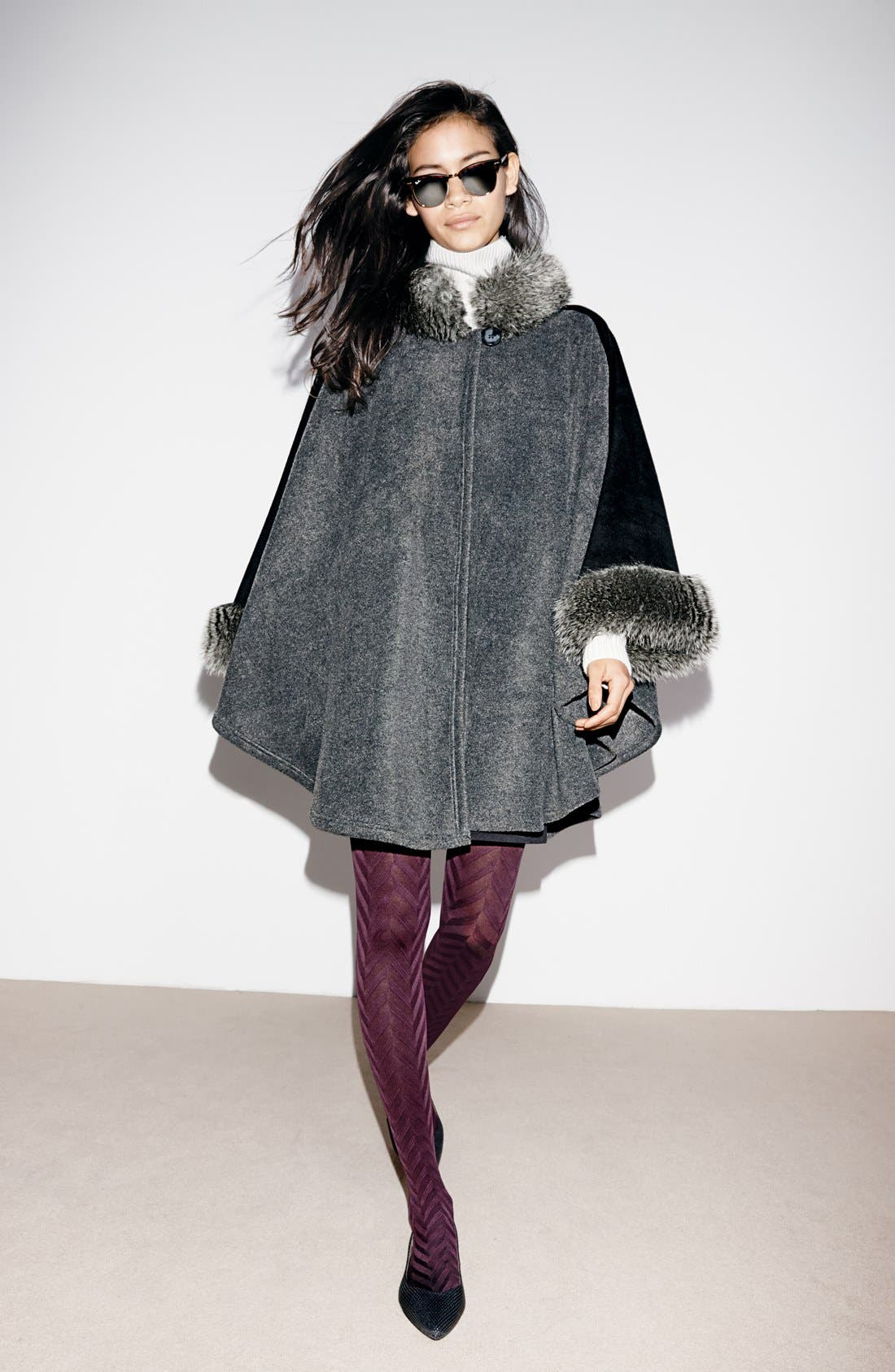 'Karina' Faux Fur Trim Cape,                             Alternate thumbnail 4, color,                             001