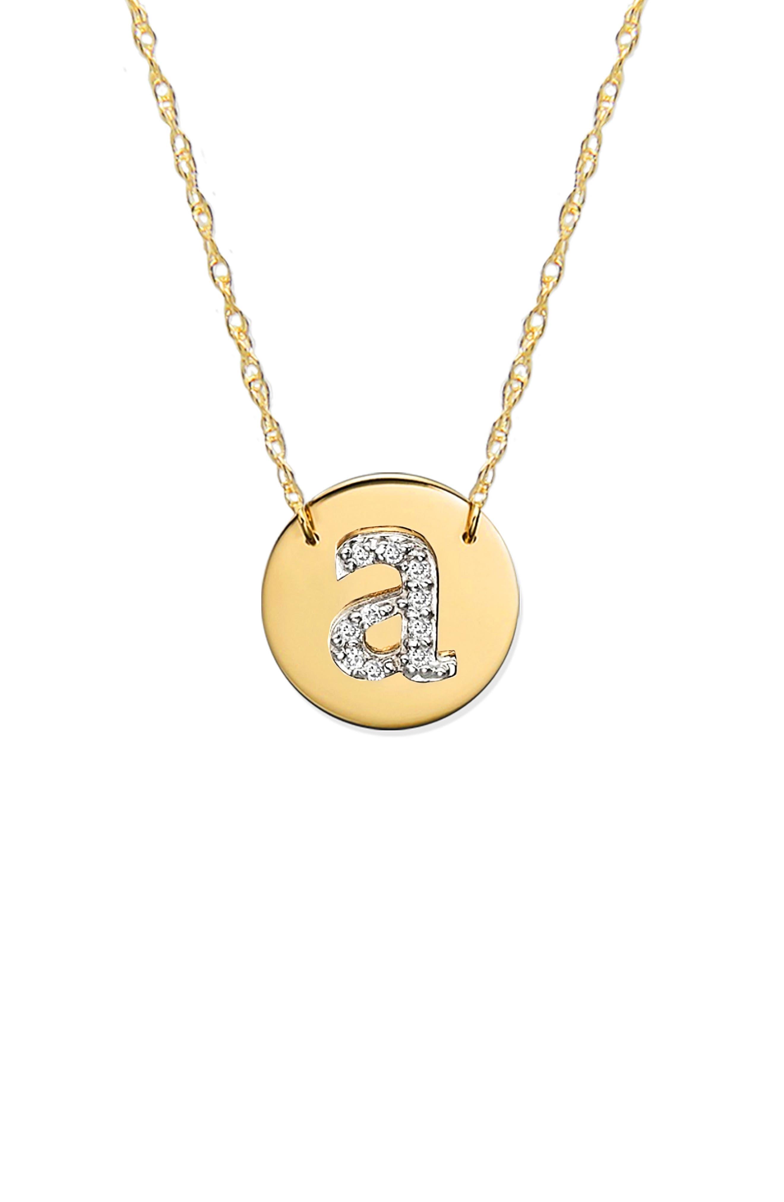 Diamond Initial Disc Pendant Necklace,                             Alternate thumbnail 2, color,                             GOLD - A