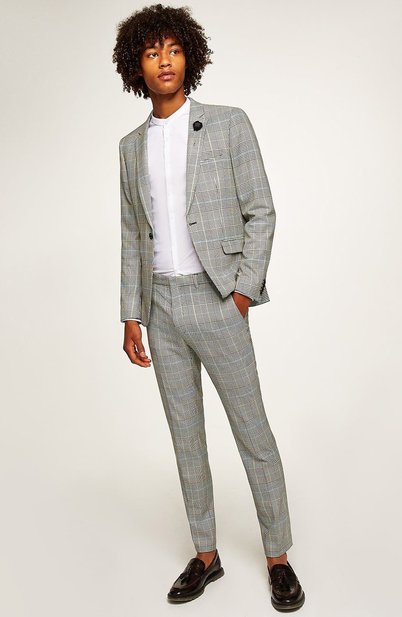 Skinny Fit Houndstooth Suit Jacket,                             Alternate thumbnail 5, color,                             GREY MULTI