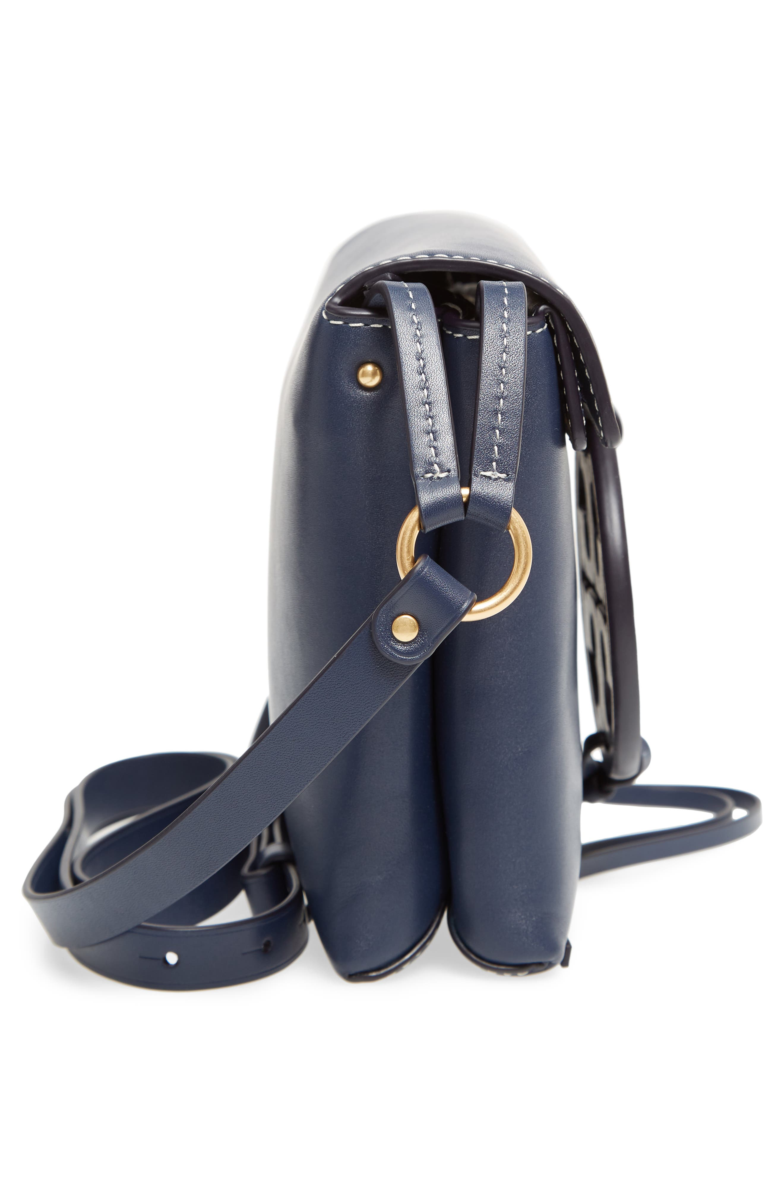 Miller Leather Crossbody Bag,                             Alternate thumbnail 5, color,                             ROYAL NAVY