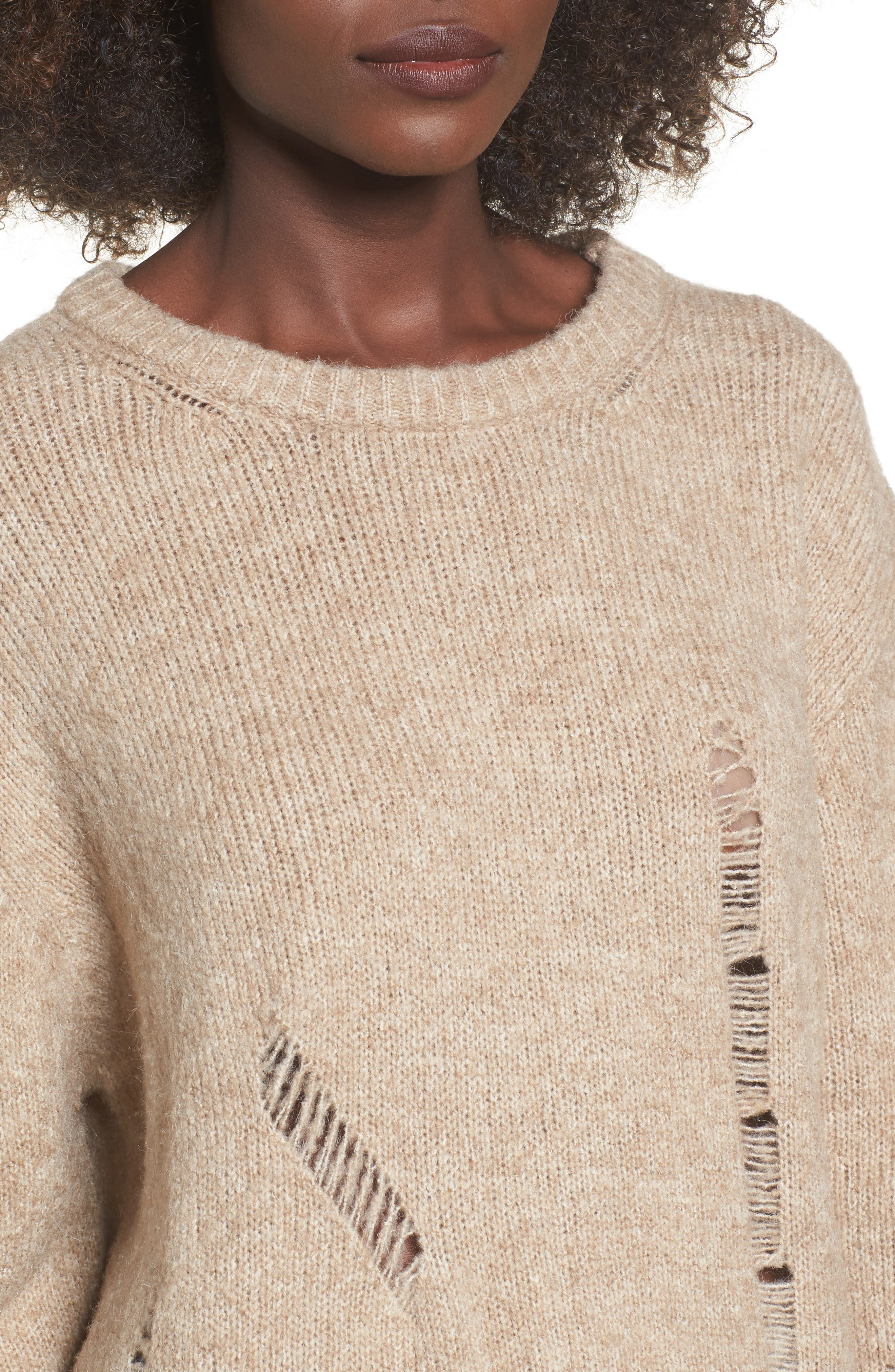Destroyed Tunic Sweater,                             Alternate thumbnail 4, color,