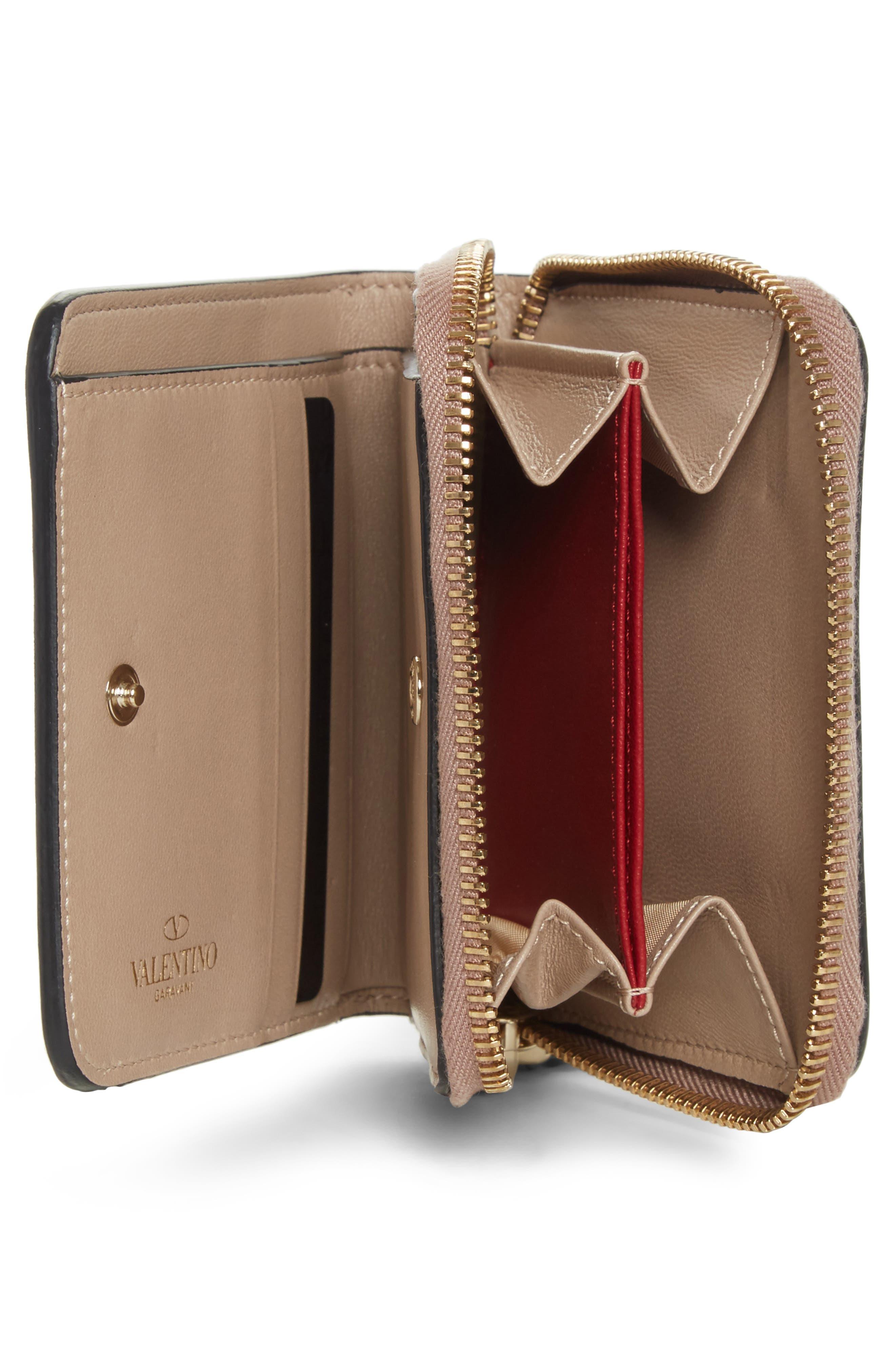 Rockstud Matelassé Leather French Wallet,                             Alternate thumbnail 2, color,                             POUDRE