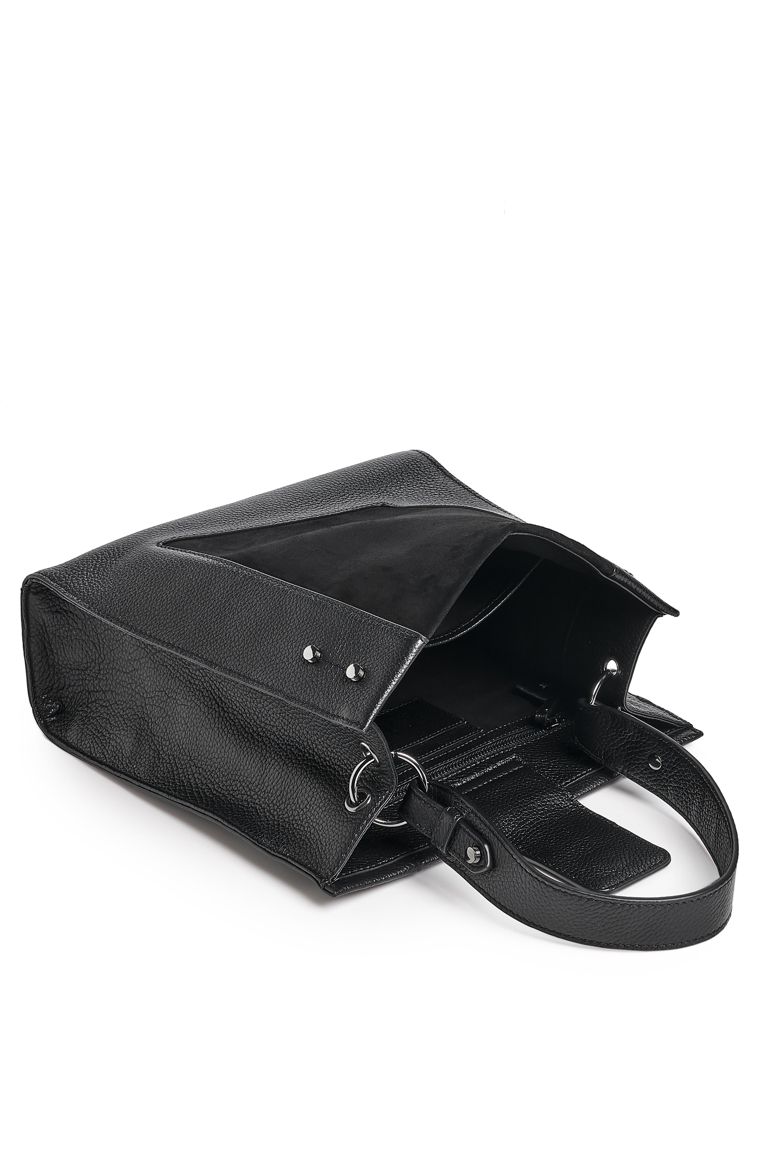Park Slope Leather & Suede Satchel,                             Alternate thumbnail 3, color,                             001