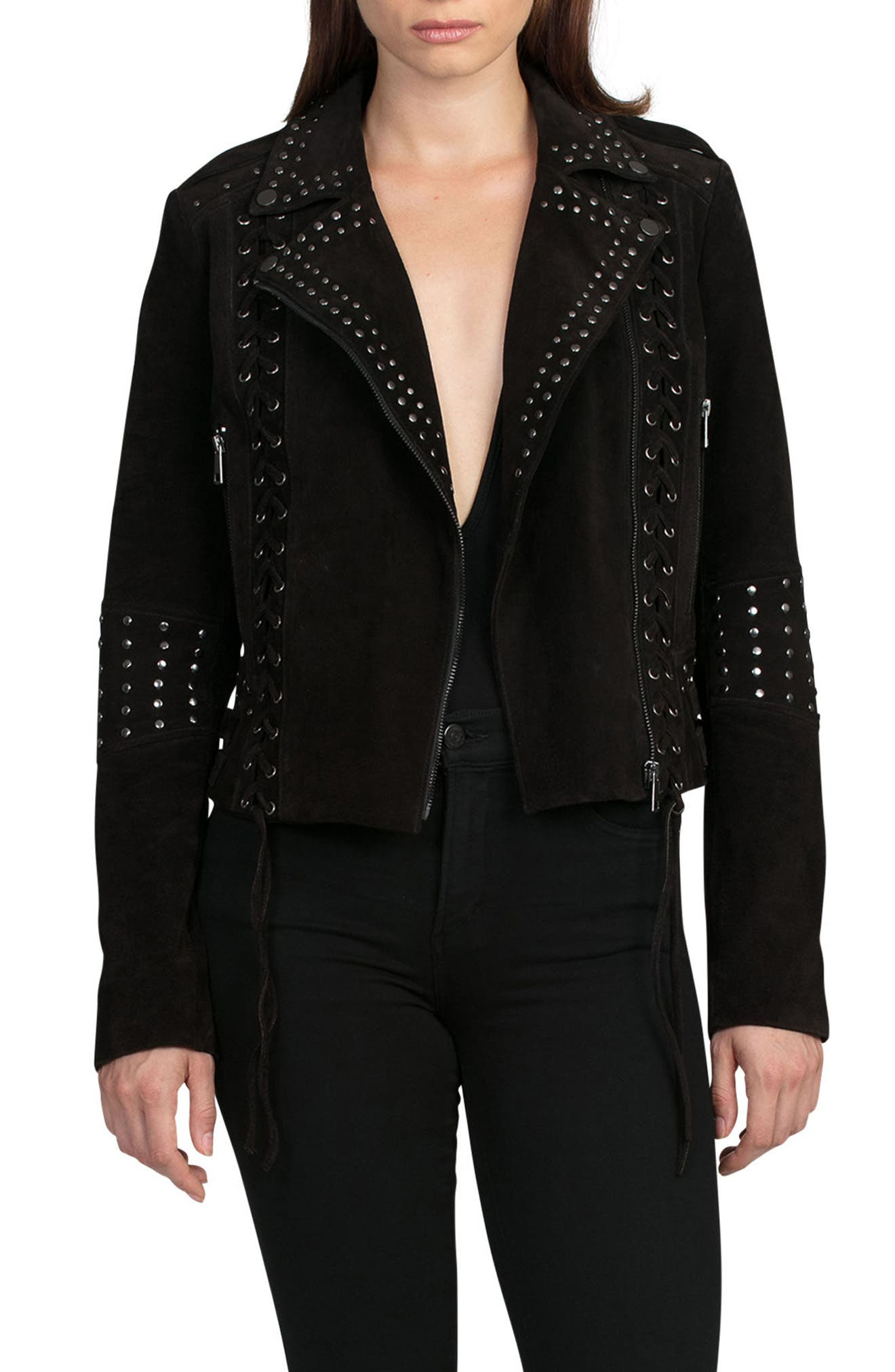 Bagatelle Studded Suede Jacket,                         Main,                         color, 202