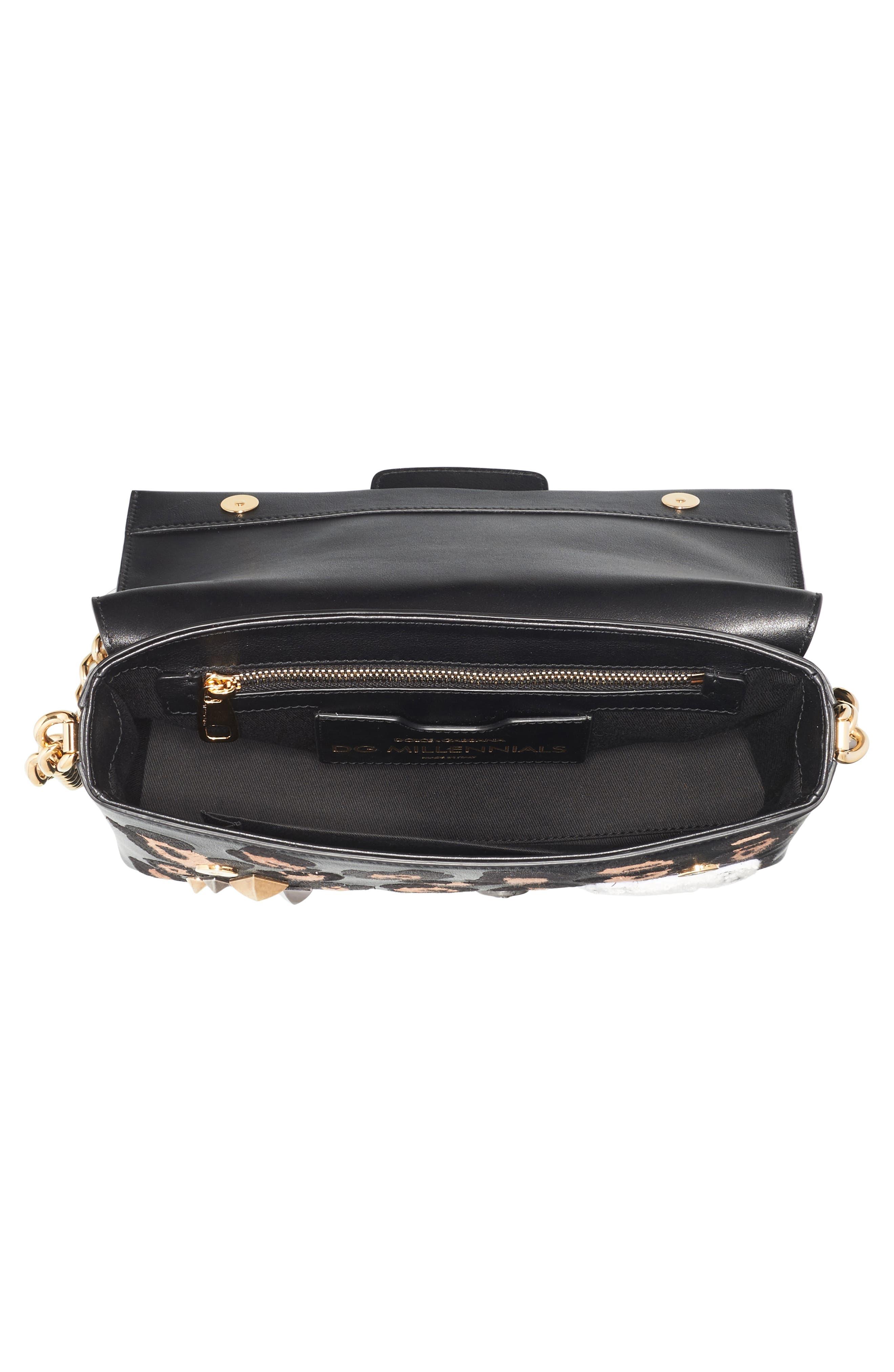 Millennials Embellished Leather Shoulder Bag,                             Alternate thumbnail 3, color,                             001