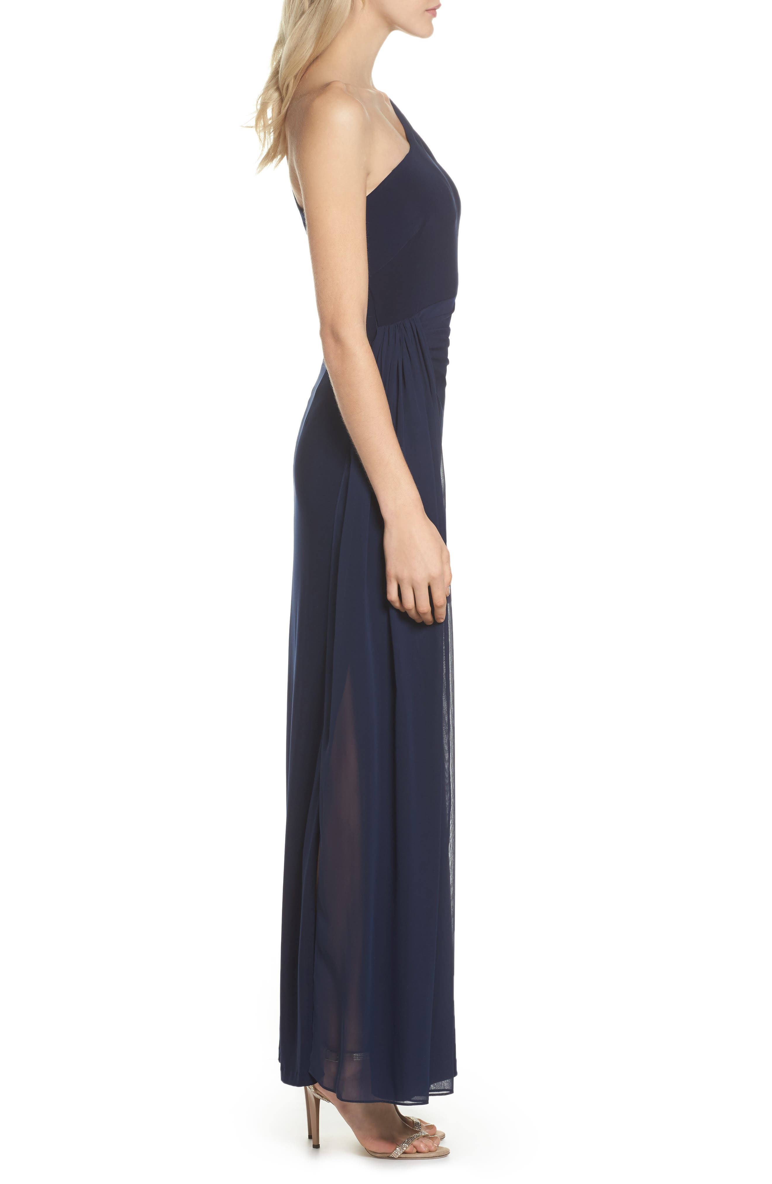 Chiffon Overlay One-Shoulder Gown,                             Alternate thumbnail 3, color,                             410