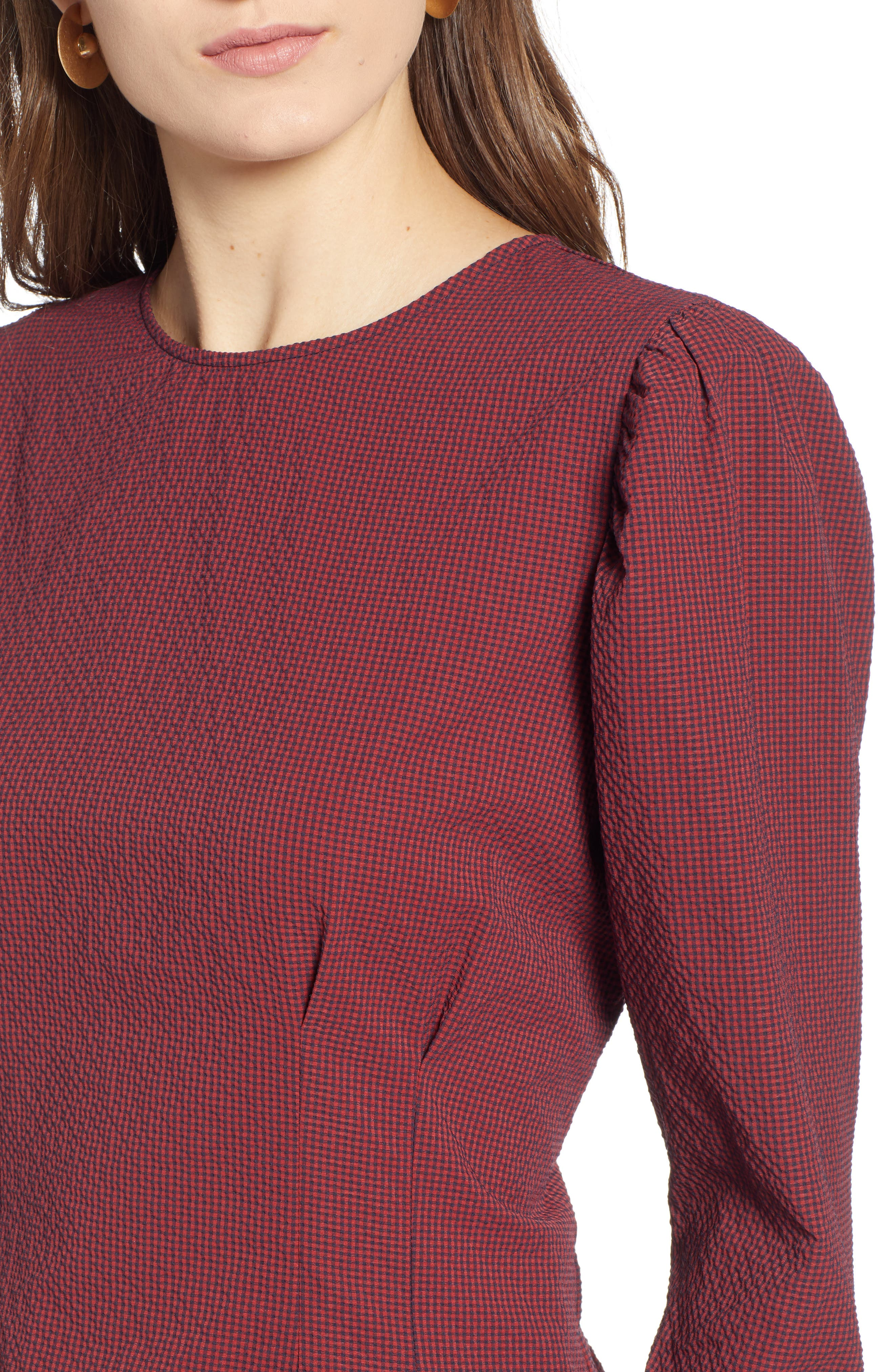 TREASURE & BOND,                             Mini Gingham Puff Sleeve Top,                             Alternate thumbnail 4, color,                             610