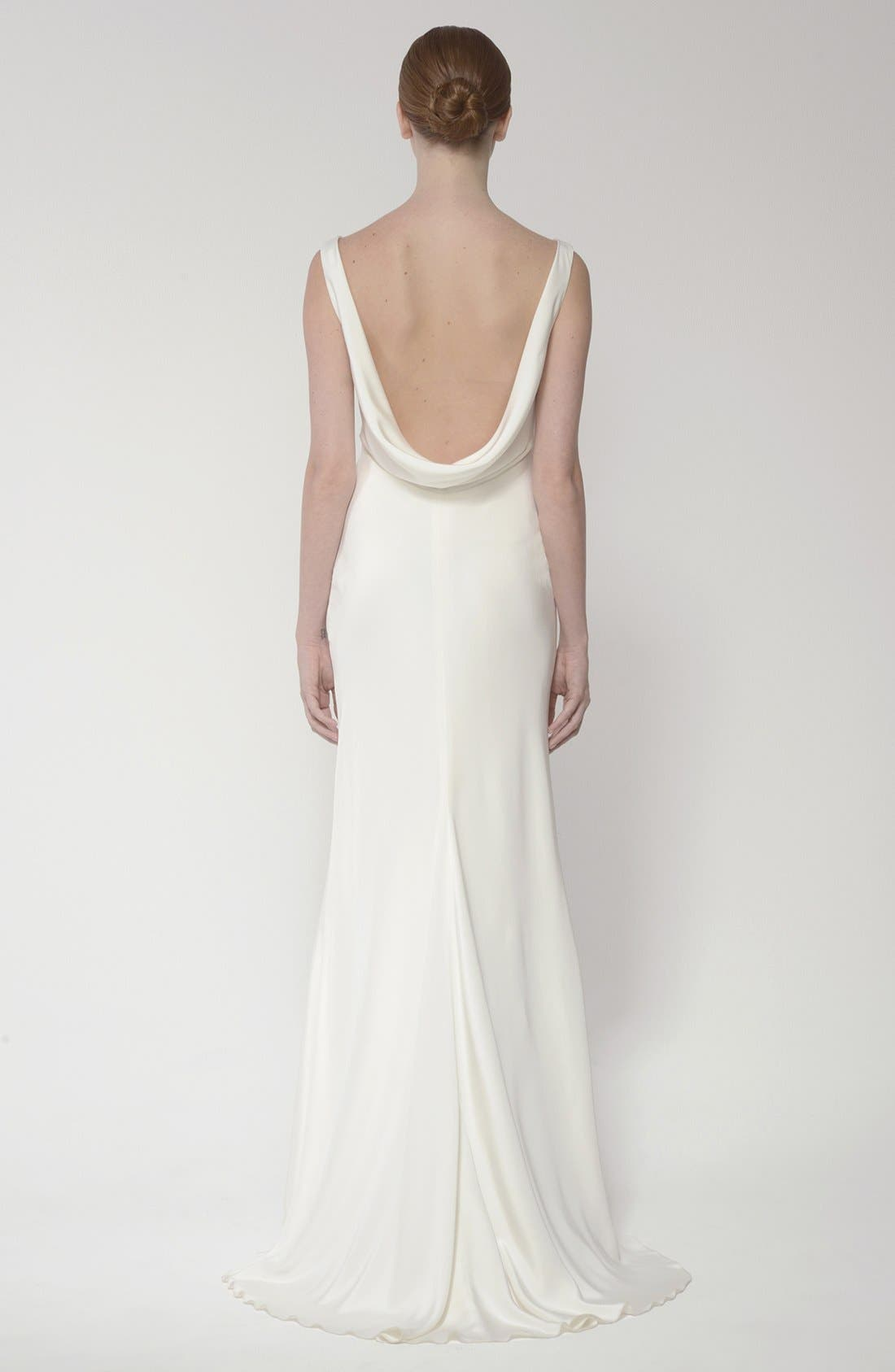 Draped Neck Silk Crepe Wedding Dress,                             Alternate thumbnail 6, color,                             900