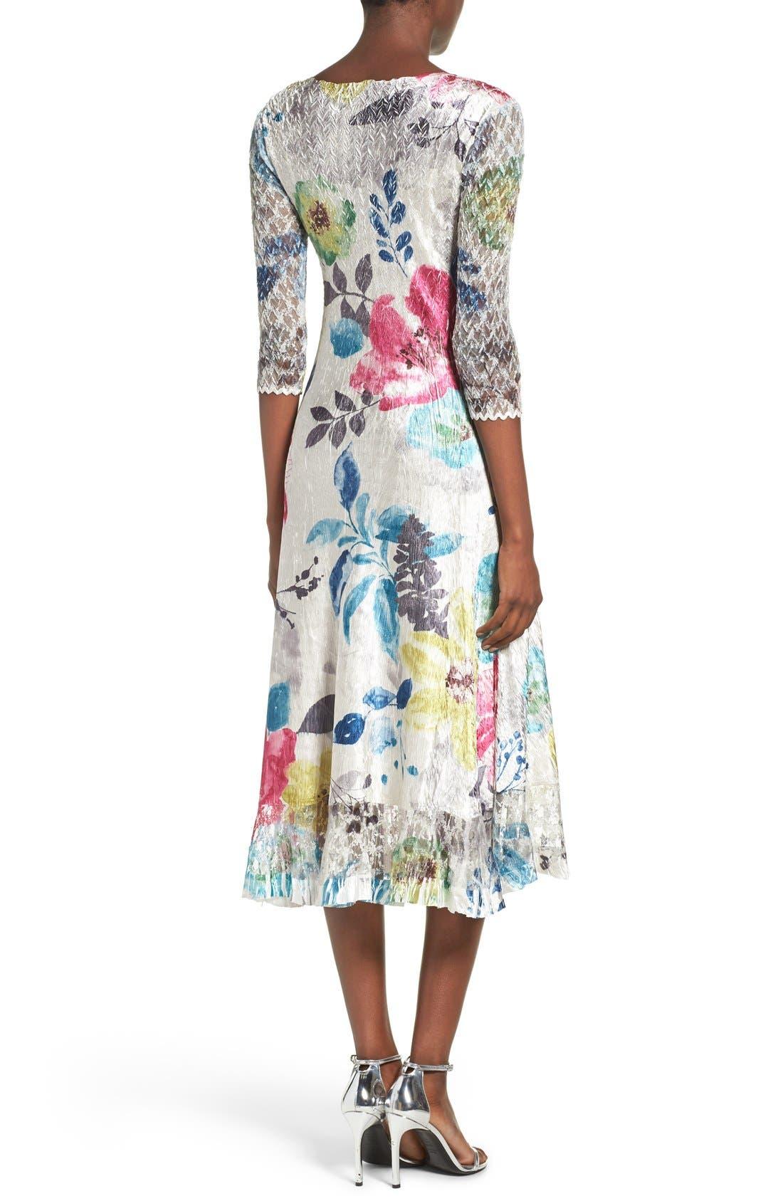 Lace & Charmeuse A-Line Dress,                             Alternate thumbnail 4, color,                             109