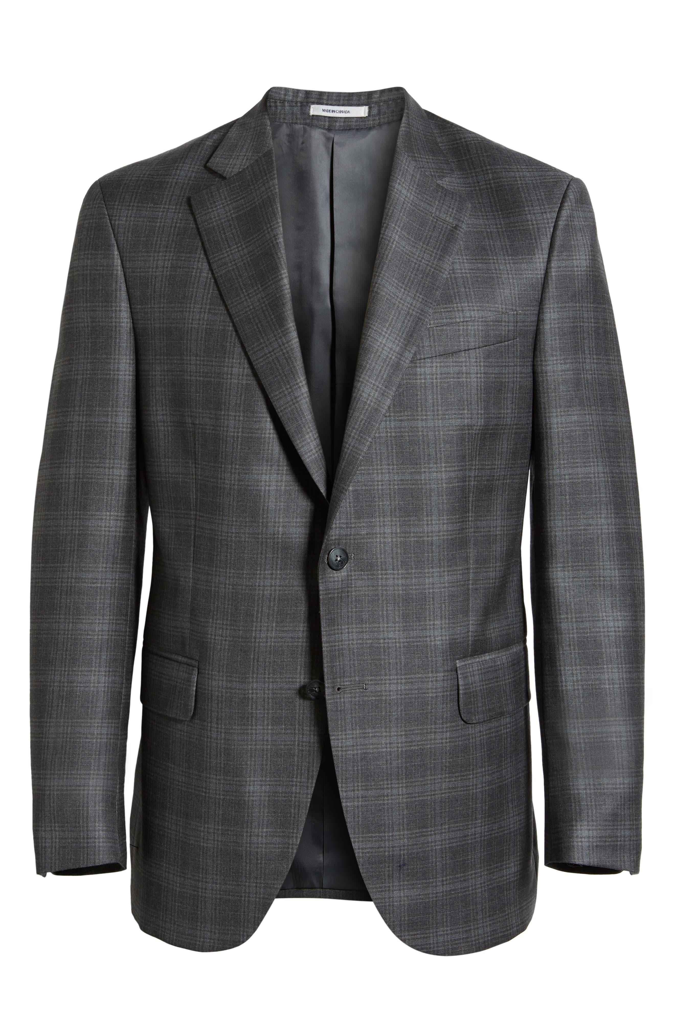 Flynn Classic Fit Plaid Wool Sport Coat,                             Alternate thumbnail 5, color,                             GREY