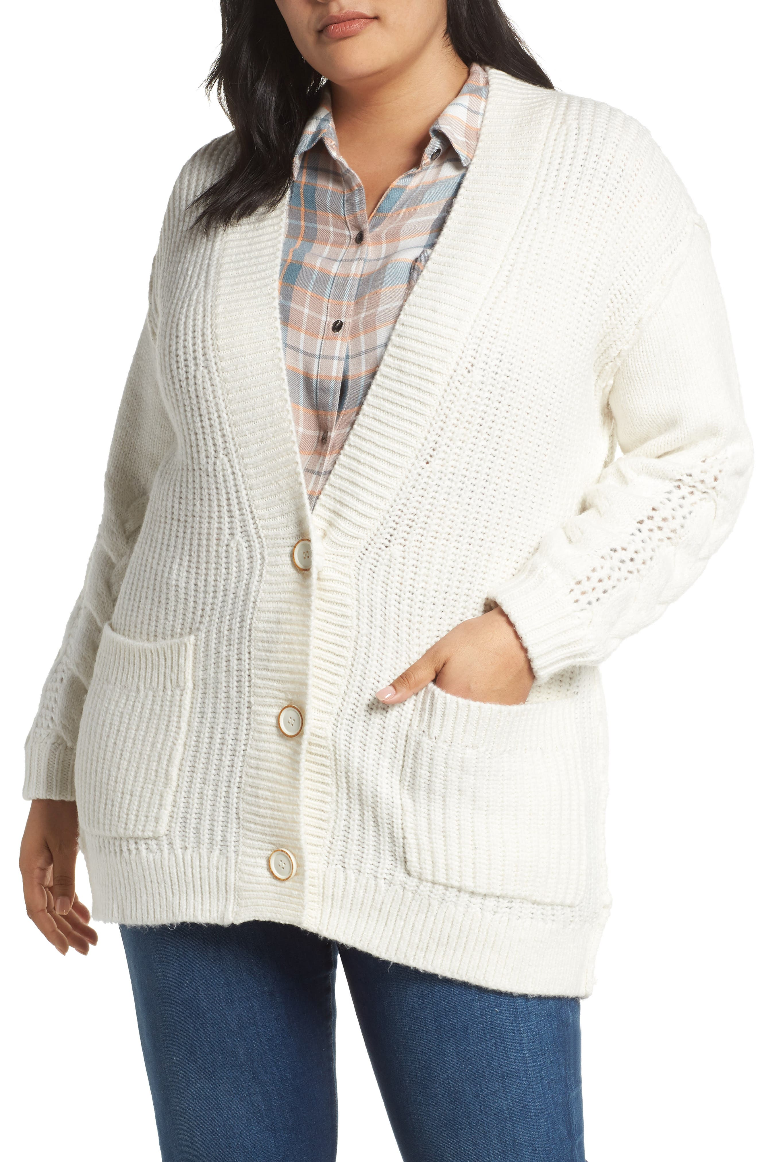 Plus Size Caslon Cable Knit Sleeve Cardigan, Ivory