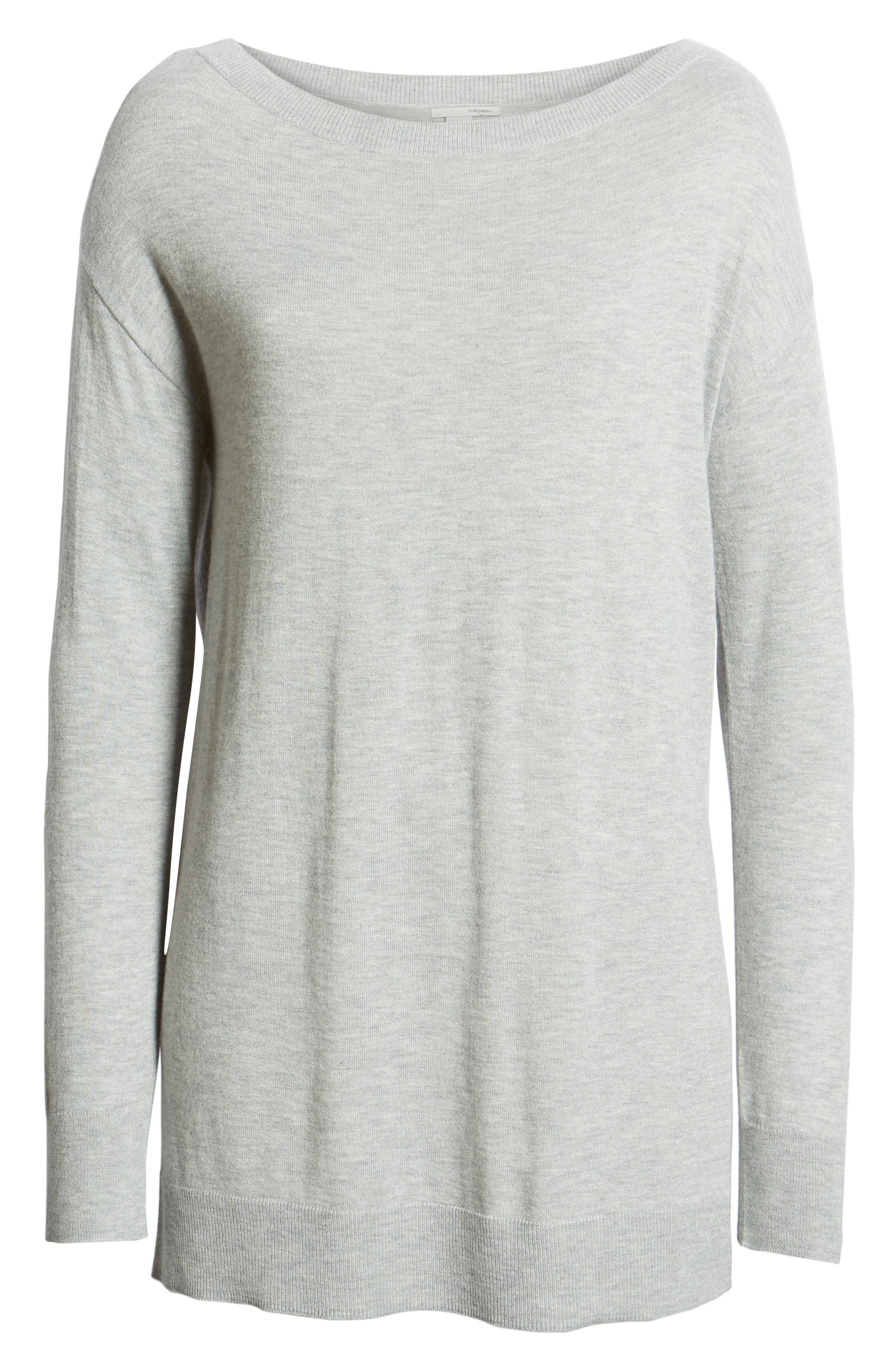 Boatneck Tunic Sweater,                             Alternate thumbnail 6, color,                             GREY HEATHER