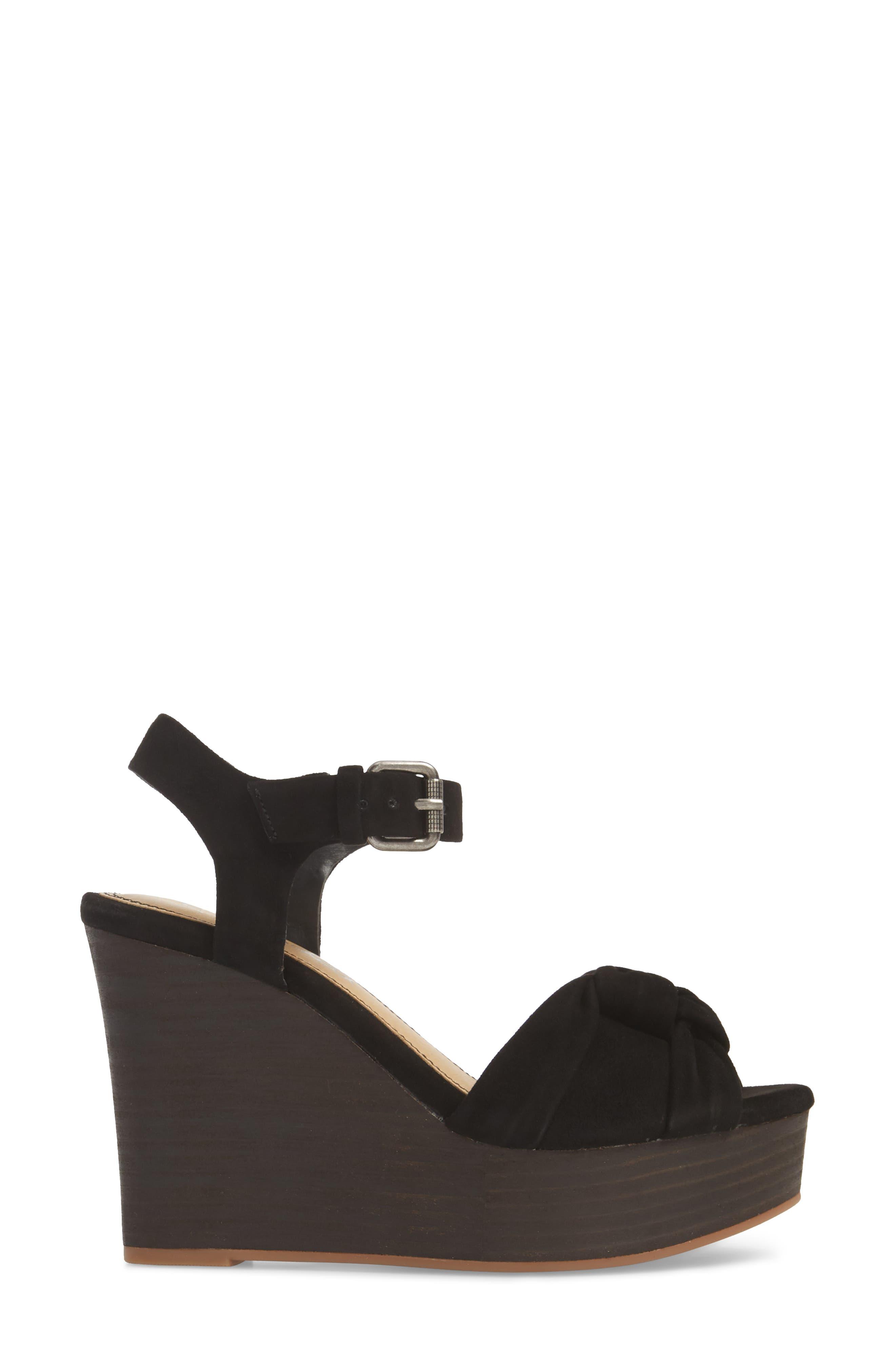 Nada Platform Wedge Sandal,                             Alternate thumbnail 3, color,                             BLACK SUEDE