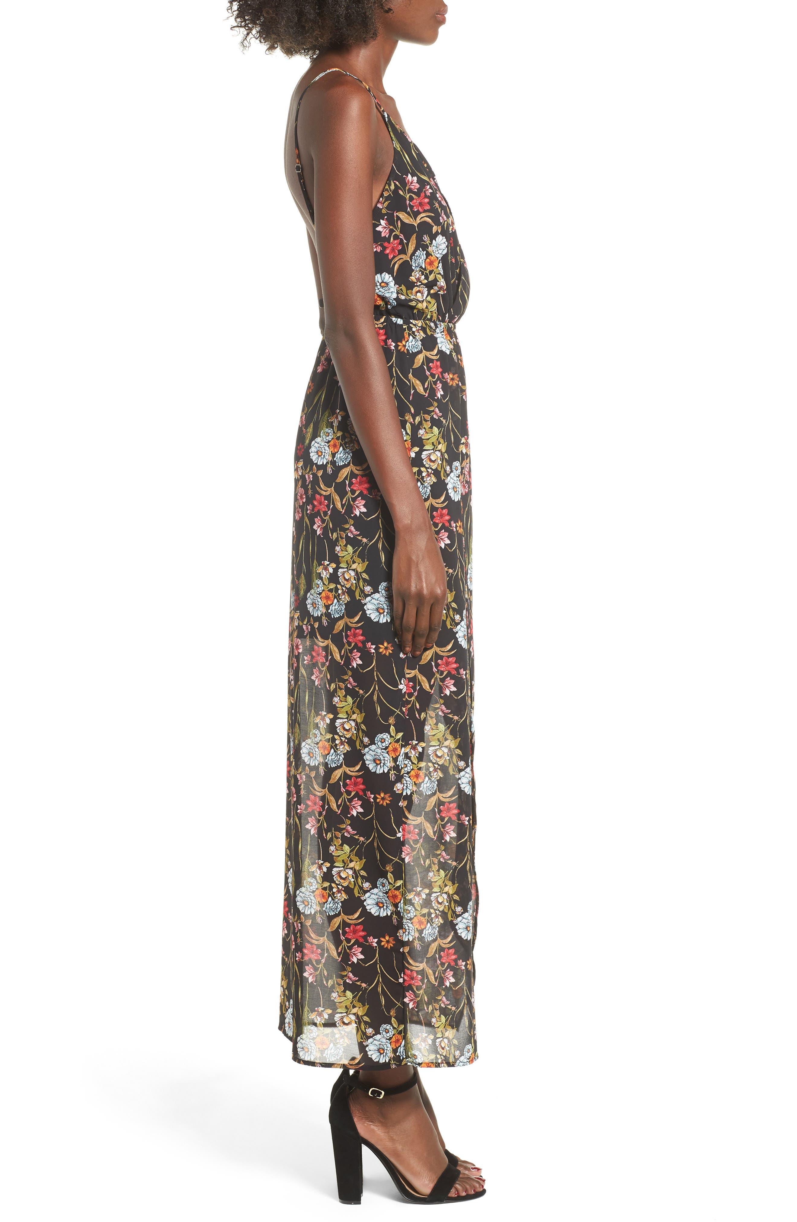 Surplice High/Low Maxi Dress,                             Alternate thumbnail 3, color,