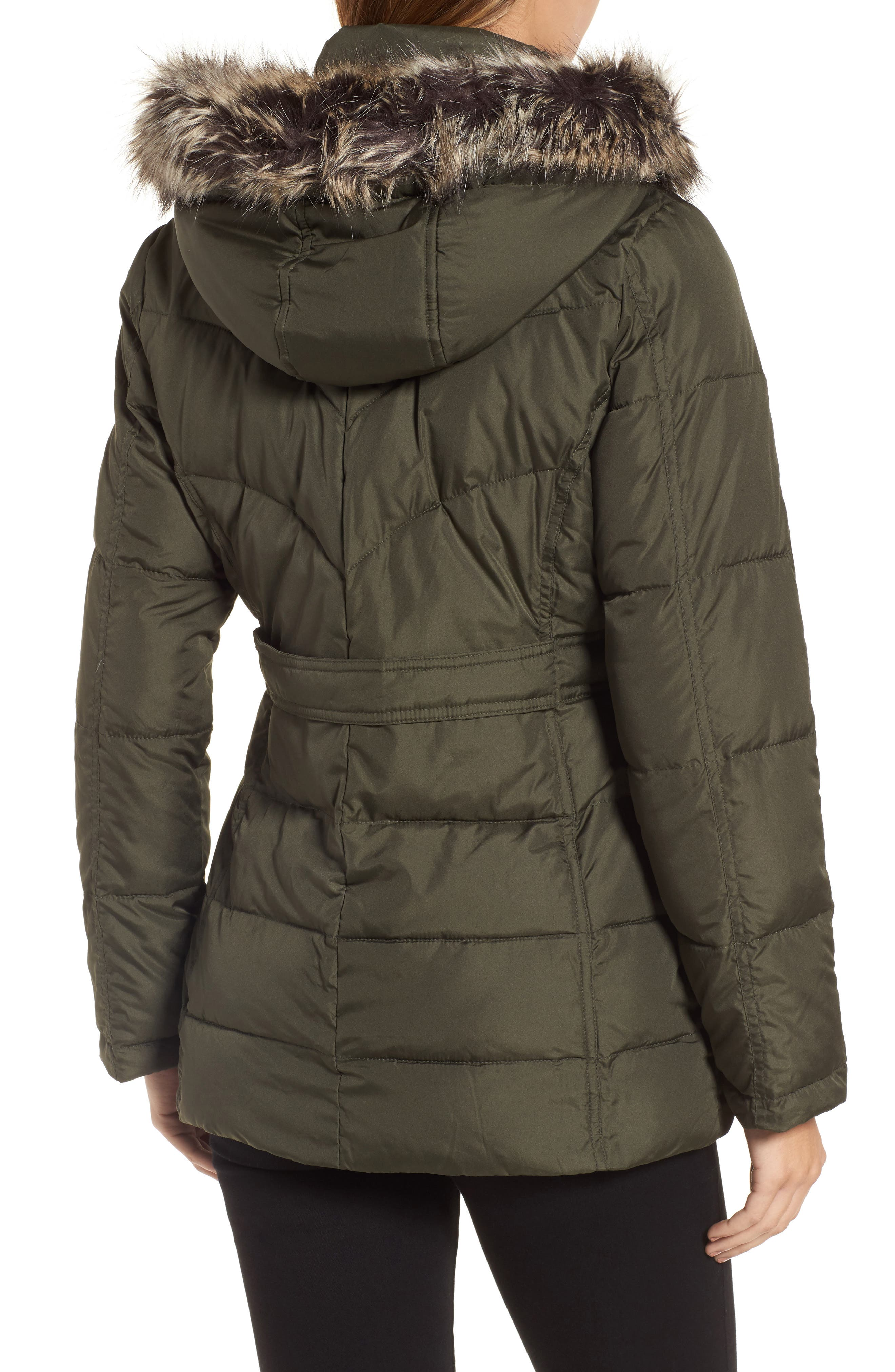 Quilted Coat with Faux Fur Trim,                             Alternate thumbnail 2, color,                             312