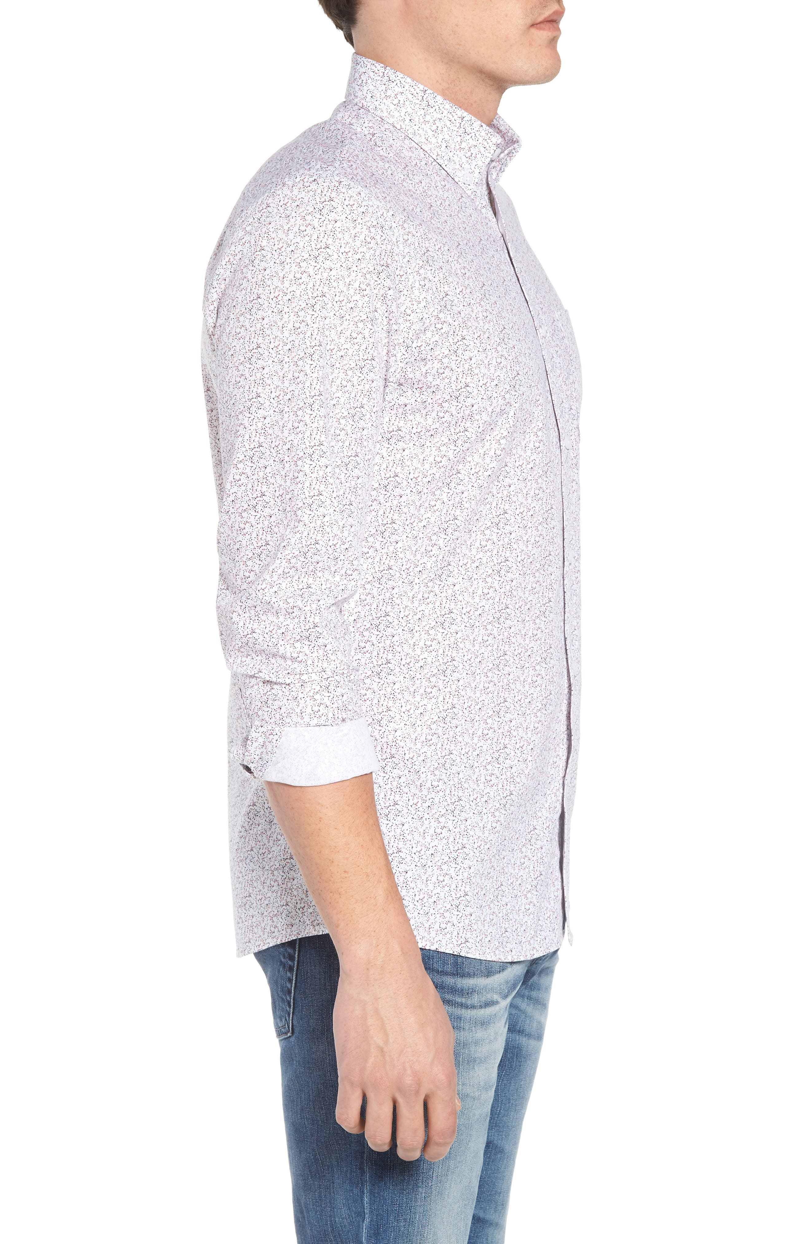 Trim Fit Print Sport Shirt,                             Alternate thumbnail 3, color,                             WHITE NAVY SPRING FLORAL