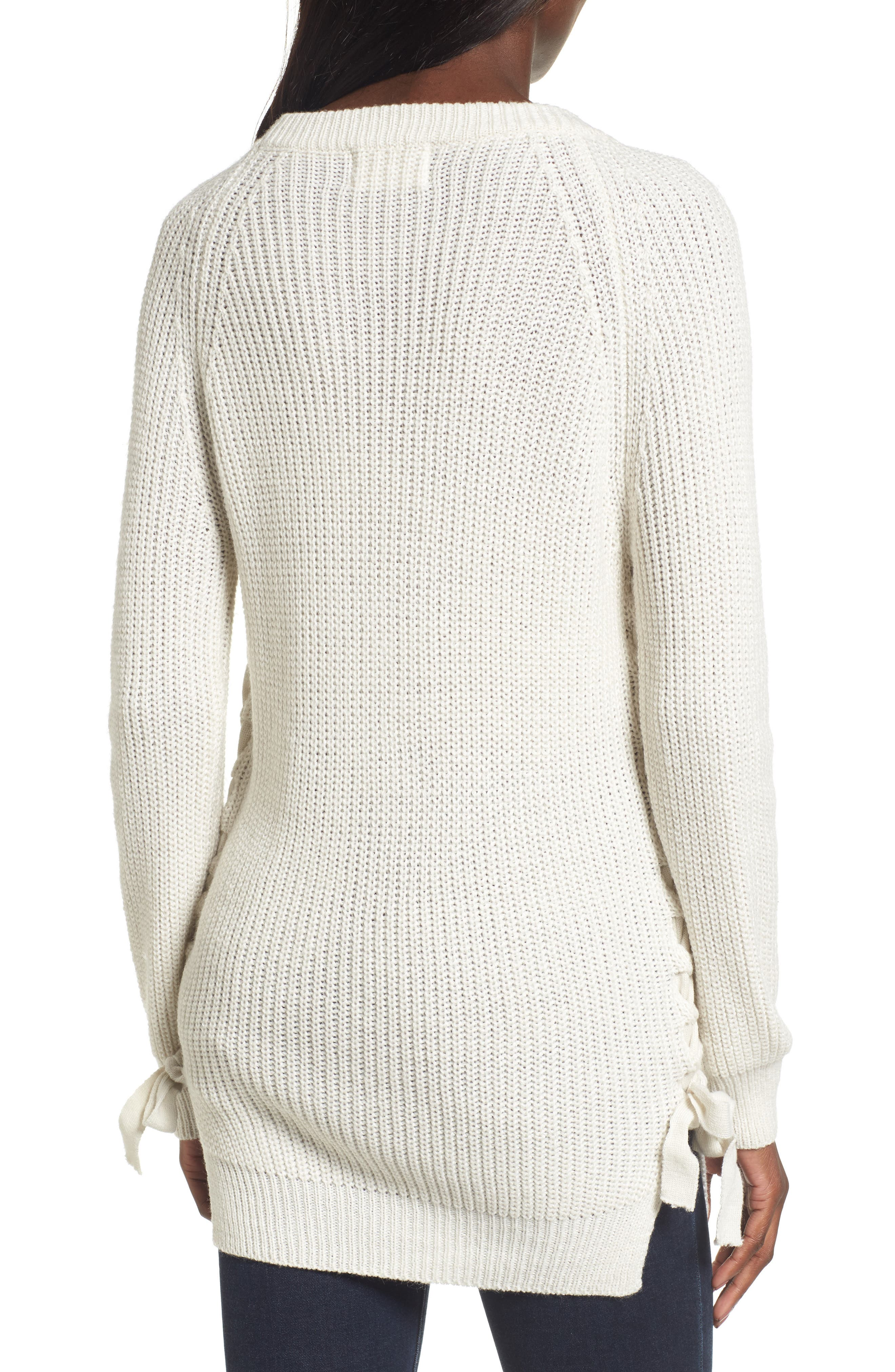 Reina Lace-Up Side Sweater,                             Alternate thumbnail 2, color,