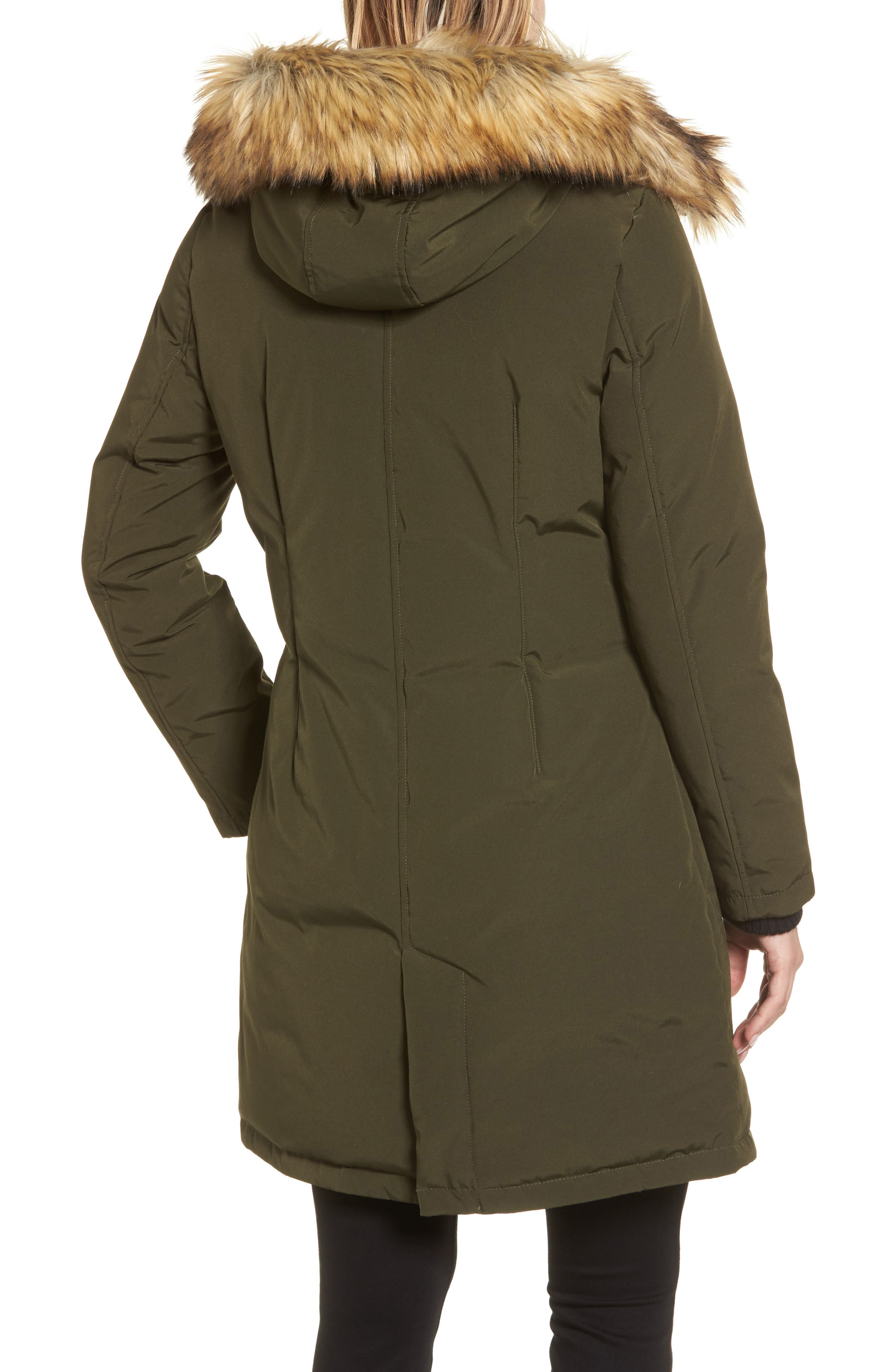 Down & Feather Fill Parka with Faux Fur Trim,                             Alternate thumbnail 8, color,