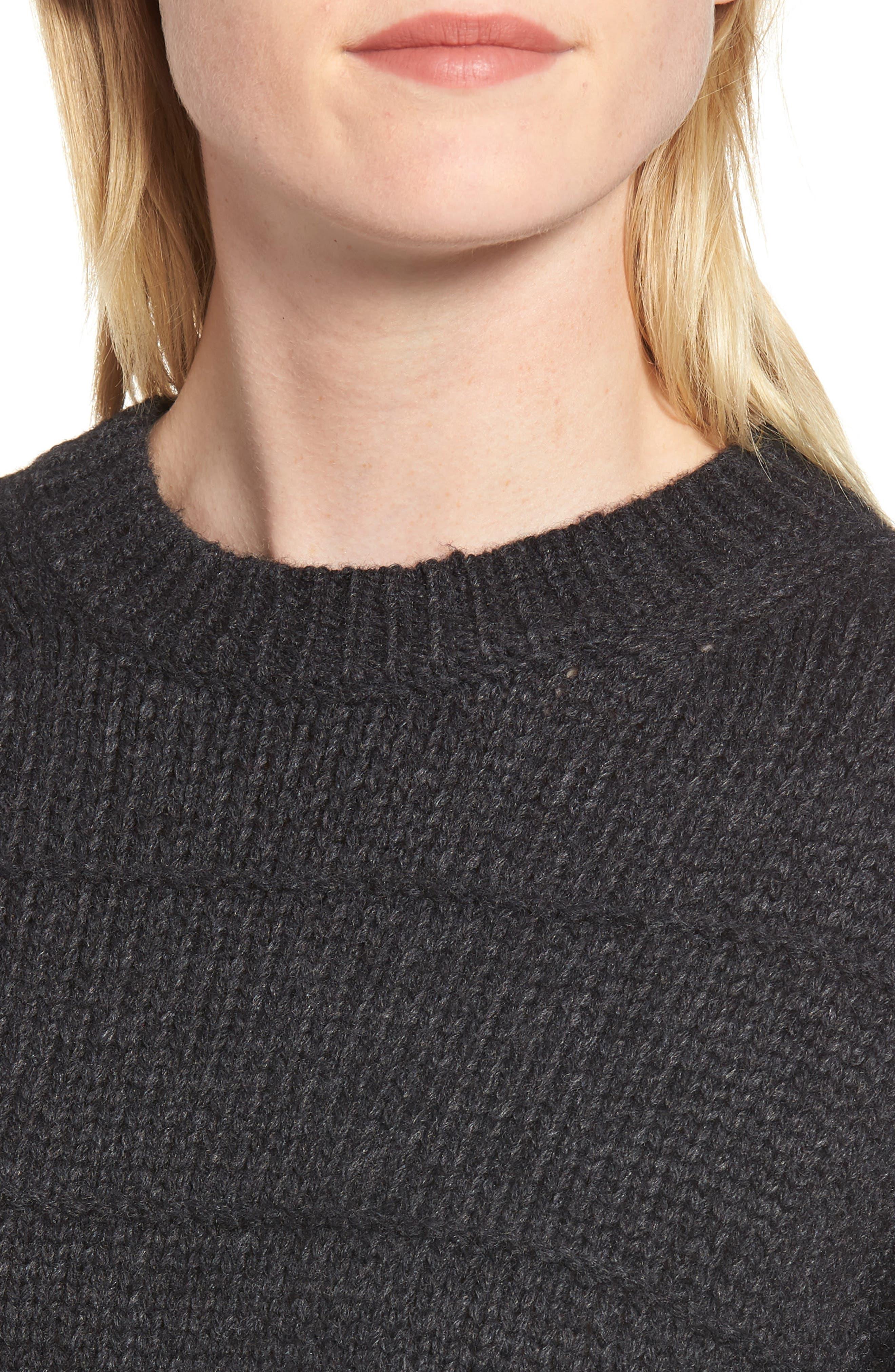 Stripe Stitch Wool Alpaca Blend Sweater,                             Alternate thumbnail 4, color,                             COAL