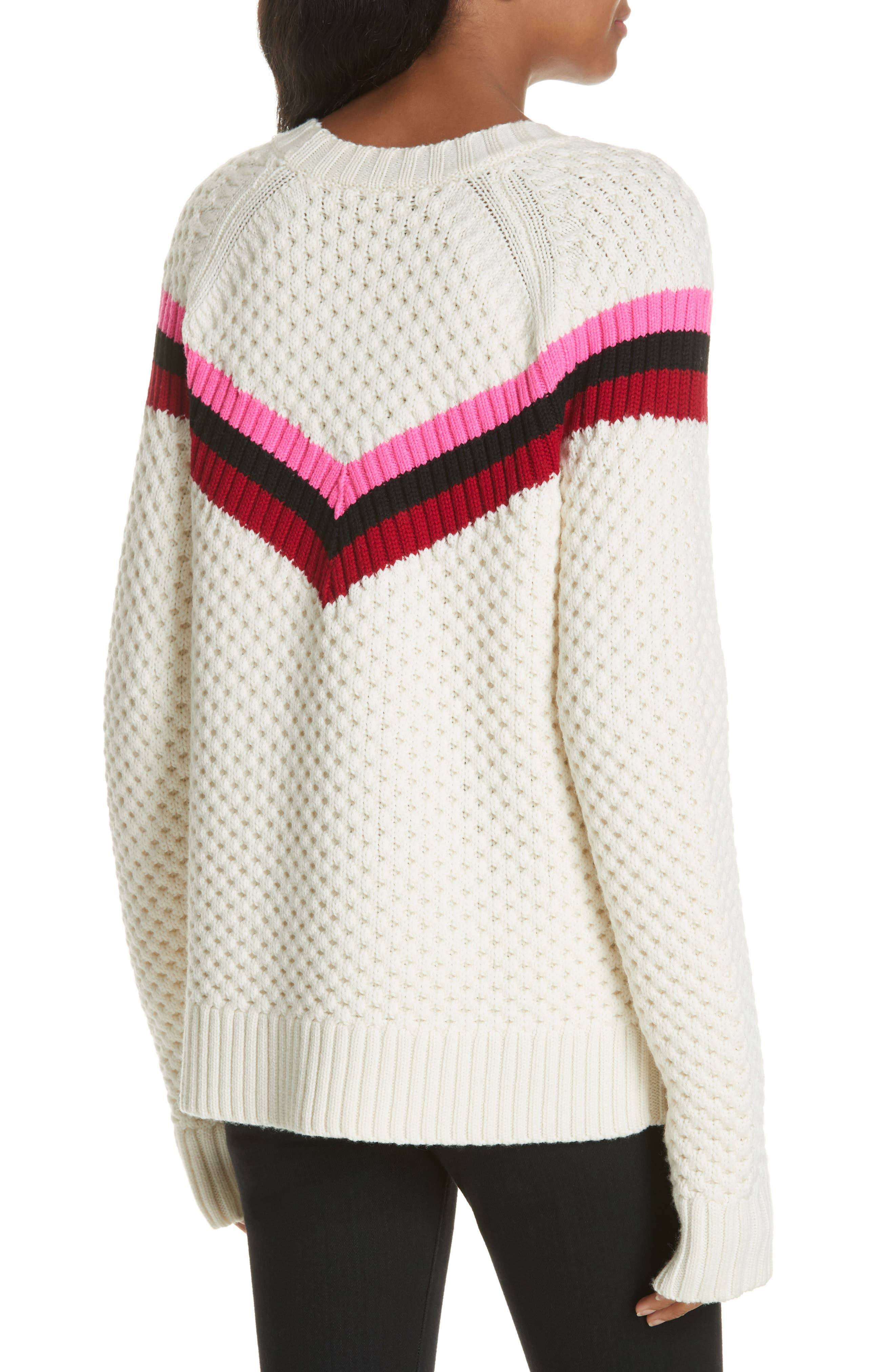 Varsity Stripe Popcorn Stitch Wool Blend Sweater,                             Alternate thumbnail 2, color,                             WHITE MULTI