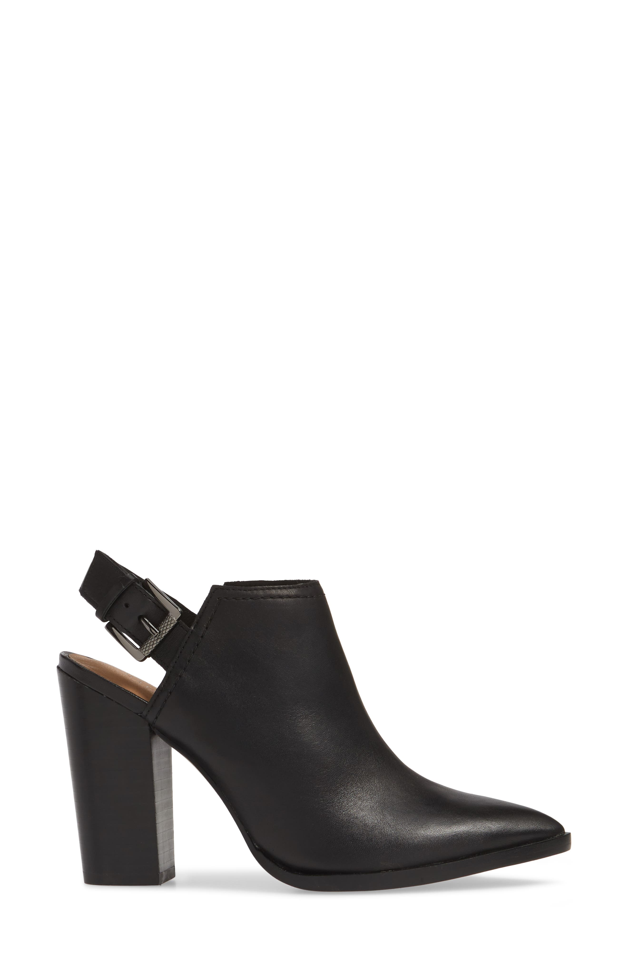 HALOGEN<SUP>®</SUP>,                             Brooke Stacked Heel Bootie,                             Alternate thumbnail 3, color,                             BLACK LEATHER