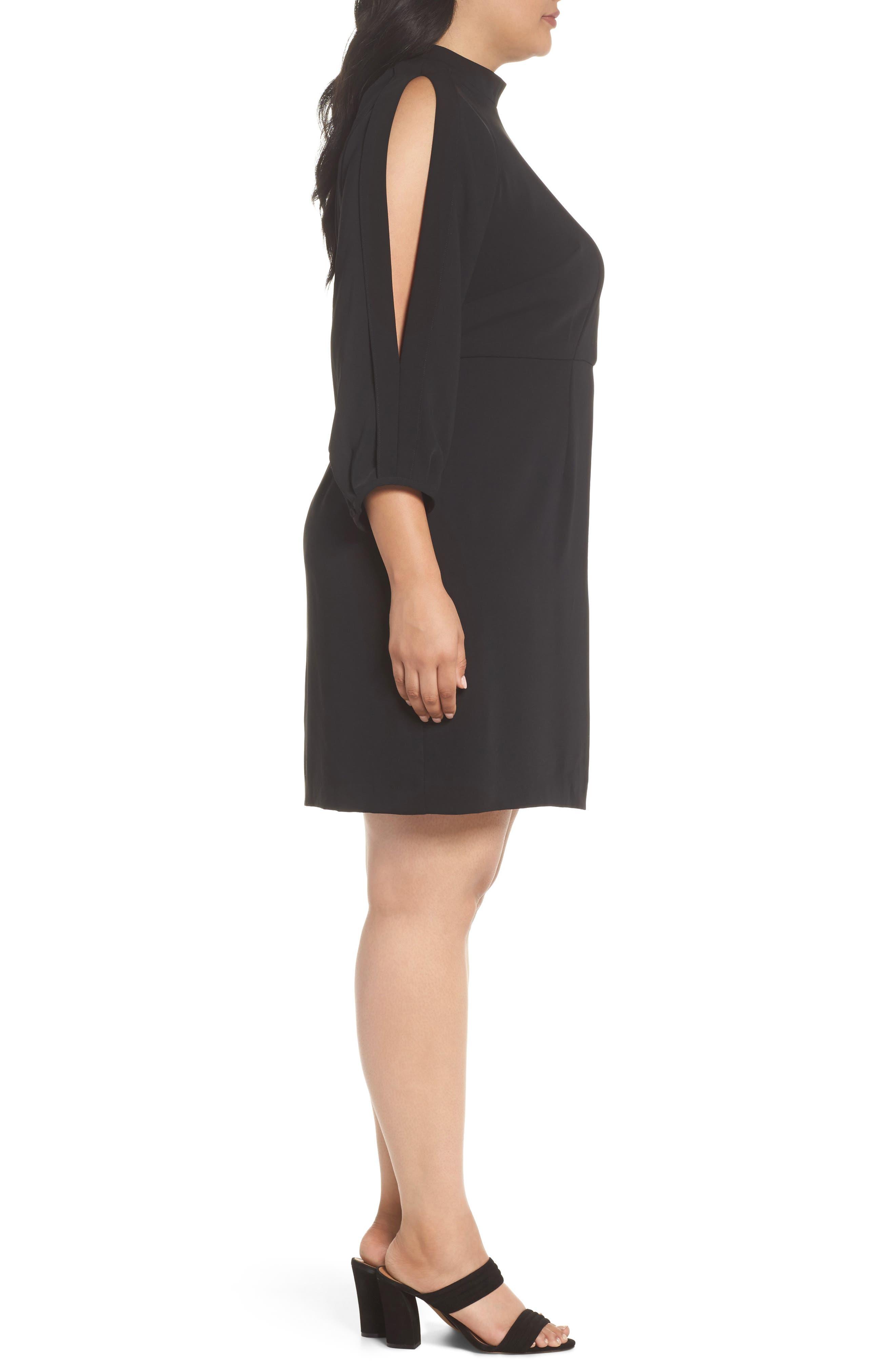 Mock Neck Split Sleeve Dress,                             Alternate thumbnail 3, color,                             001