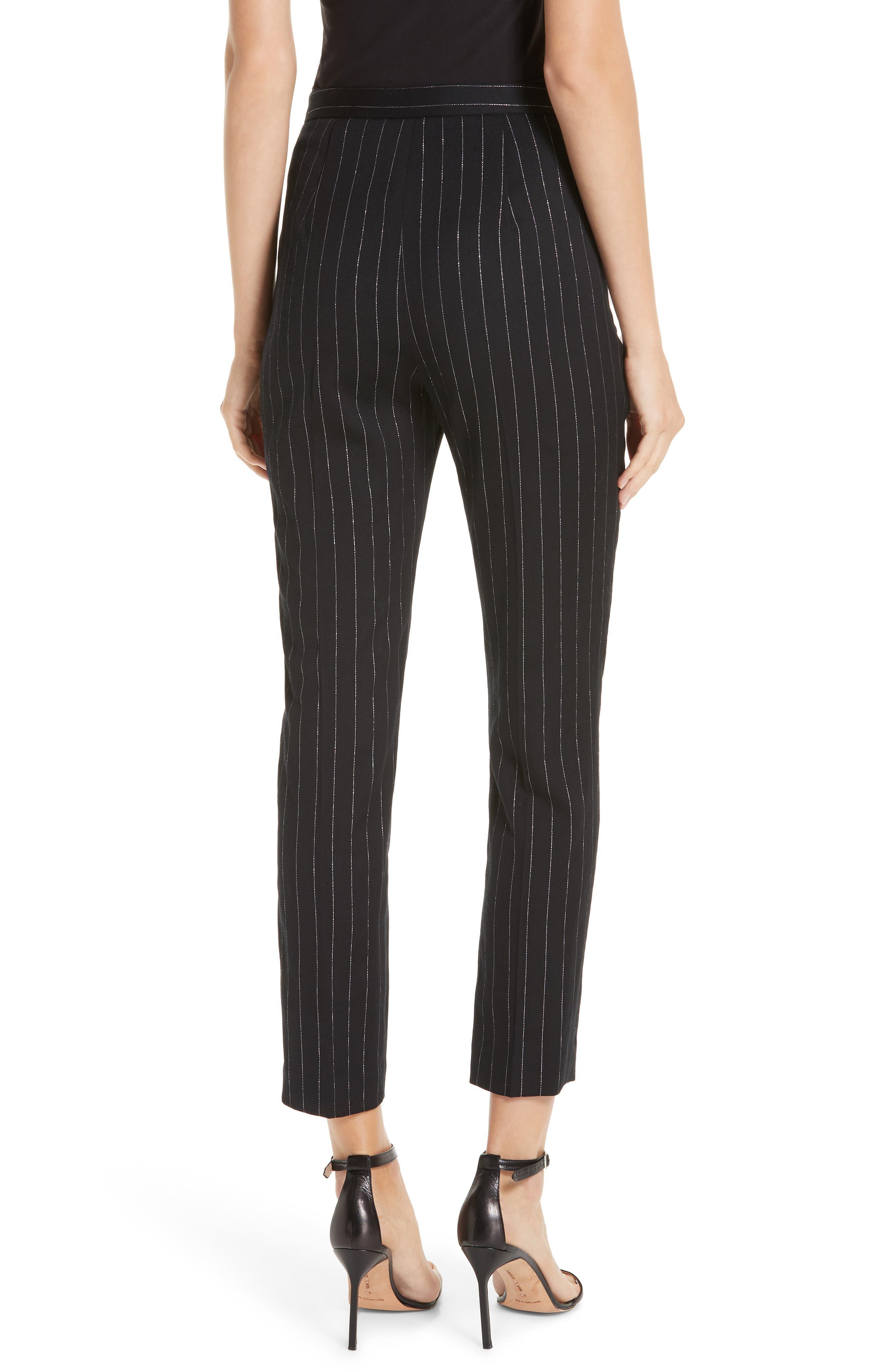 Metallic Pinstripe High Waist Skinny Wool Pants,                             Alternate thumbnail 2, color,                             BLACK