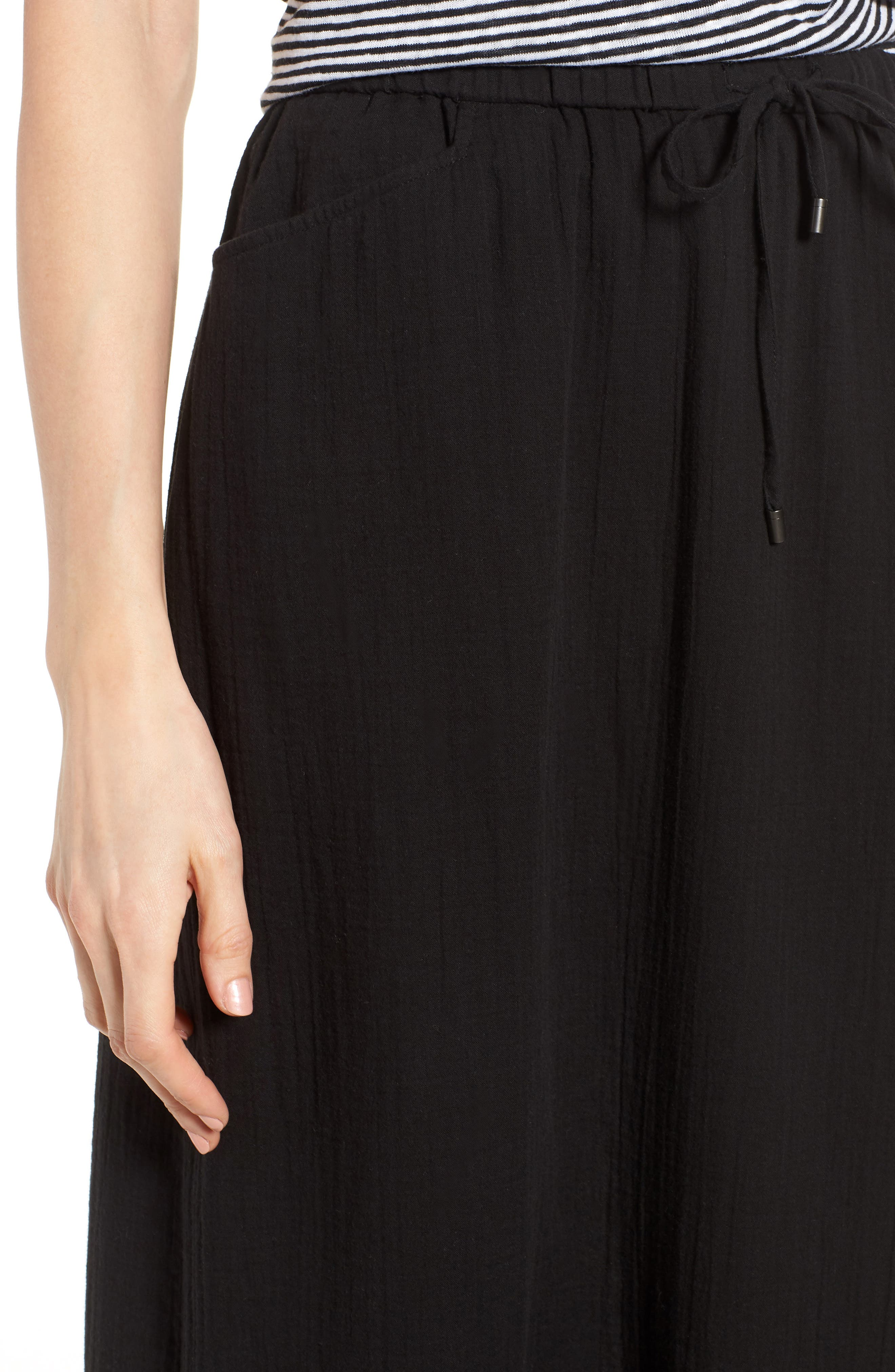 EILEEN FISHER,                             Drawstring Organic Cotton Midi Skirt,                             Alternate thumbnail 4, color,                             001