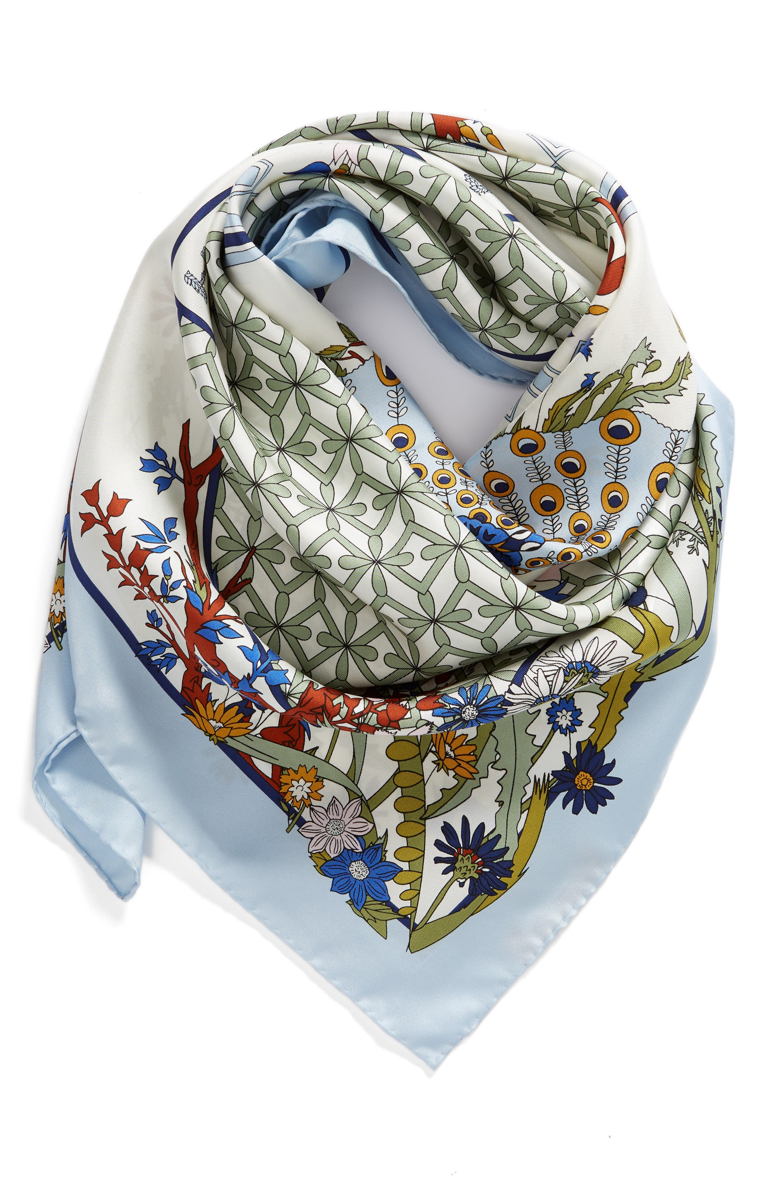 Meadow Folly Silk Square Scarf,                             Alternate thumbnail 4, color,