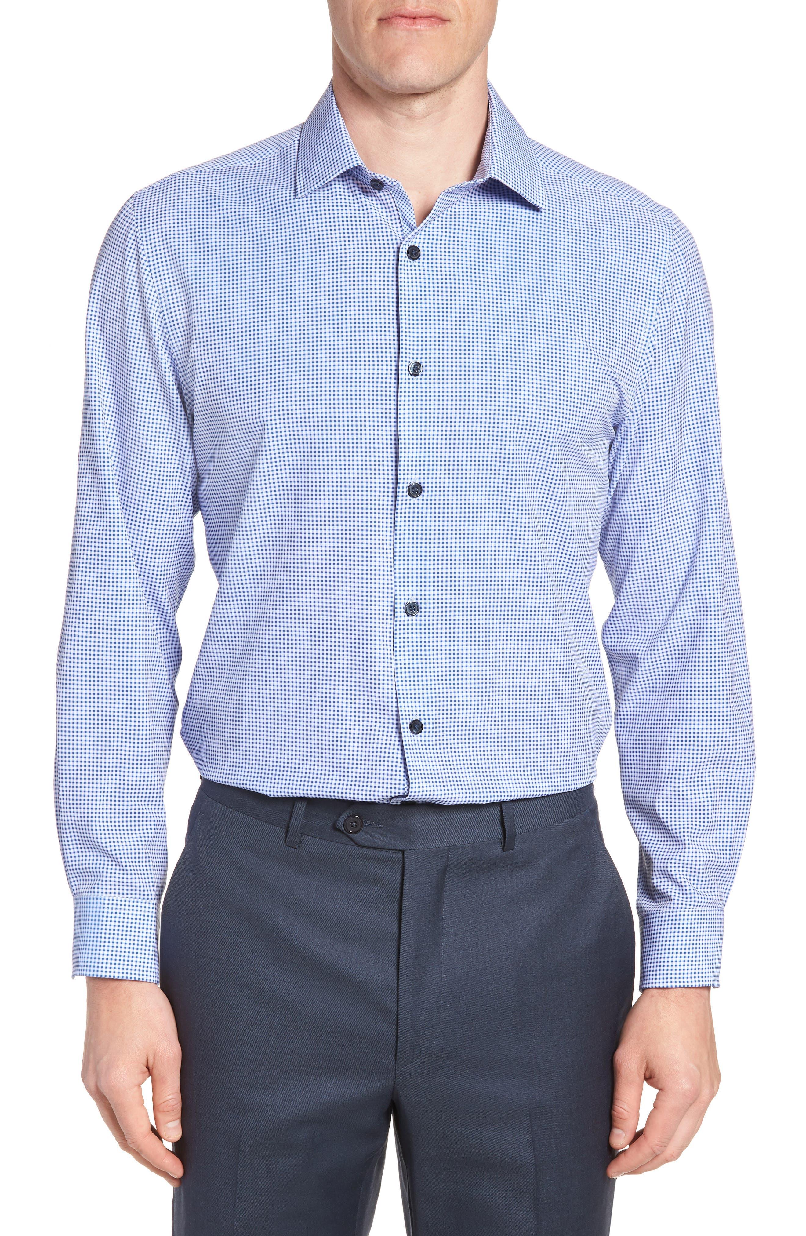 Trim Fit Check 4-Way Stretch Dress Shirt,                         Main,                         color, LILAC