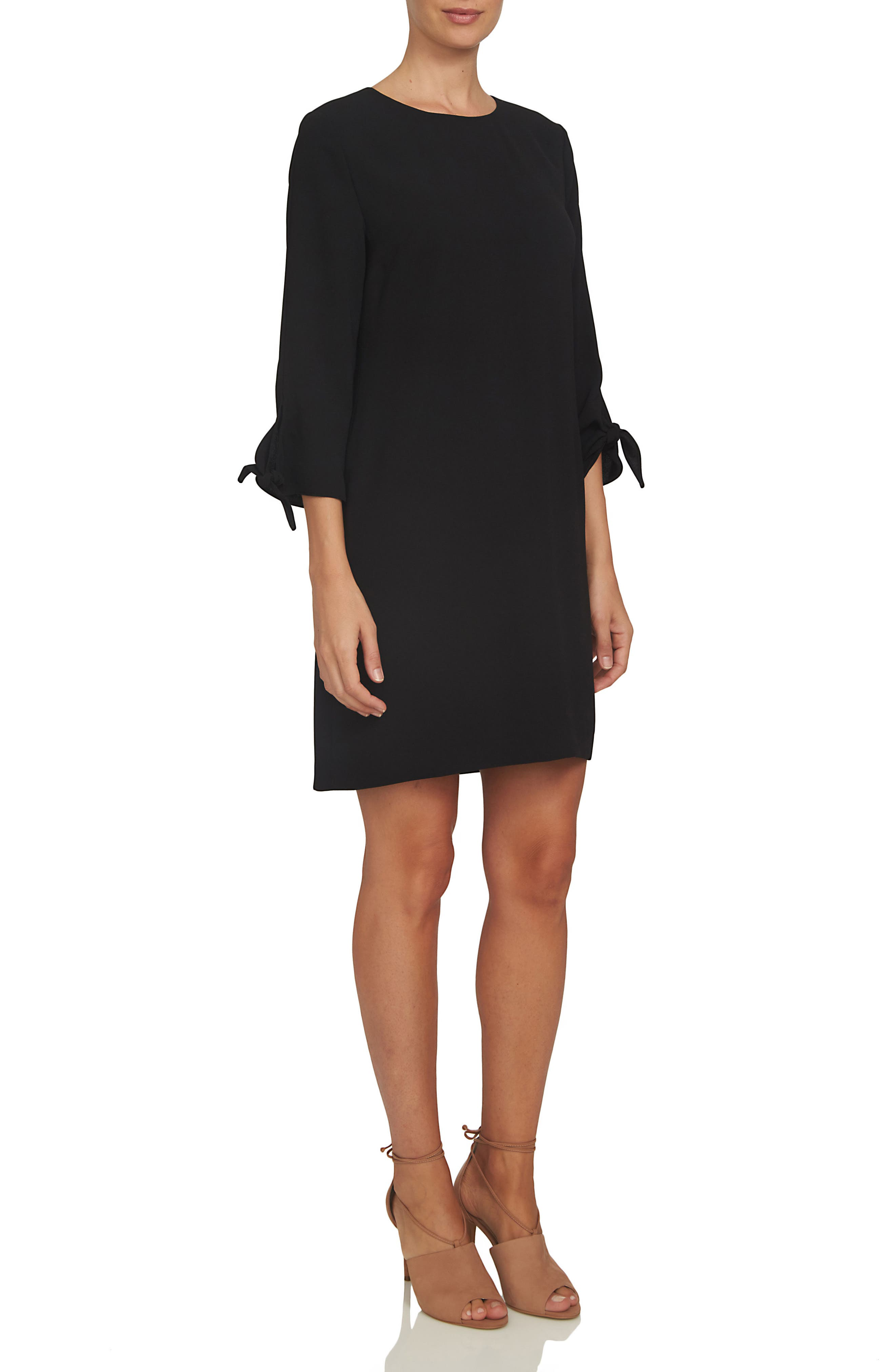 Tie Sleeve Shift Dress,                         Main,                         color, RICH BLACK