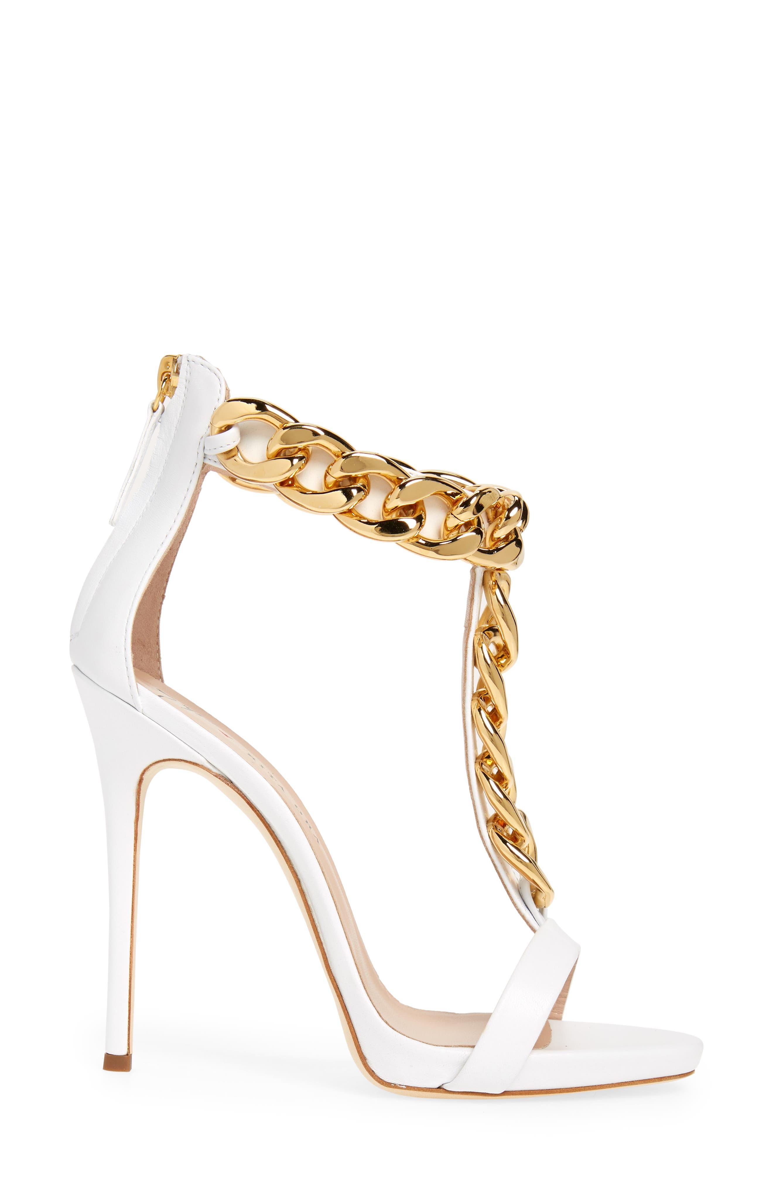Rita Ora Curb Chain T-Strap Sandal,                             Alternate thumbnail 3, color,                             WHITE