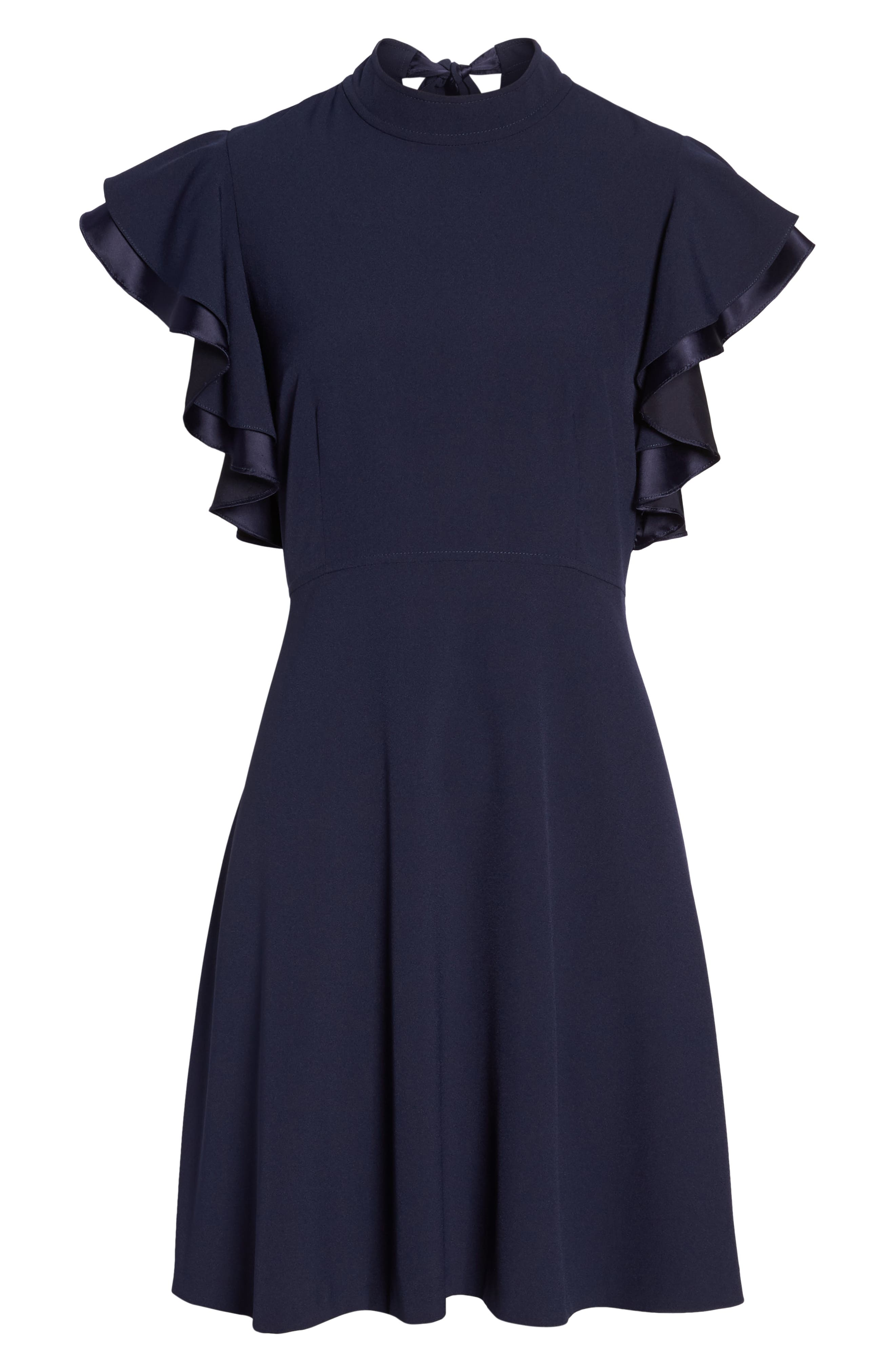 Crepe Fit & Flare Dress,                             Alternate thumbnail 7, color,                             NAVY SAPPHIRE