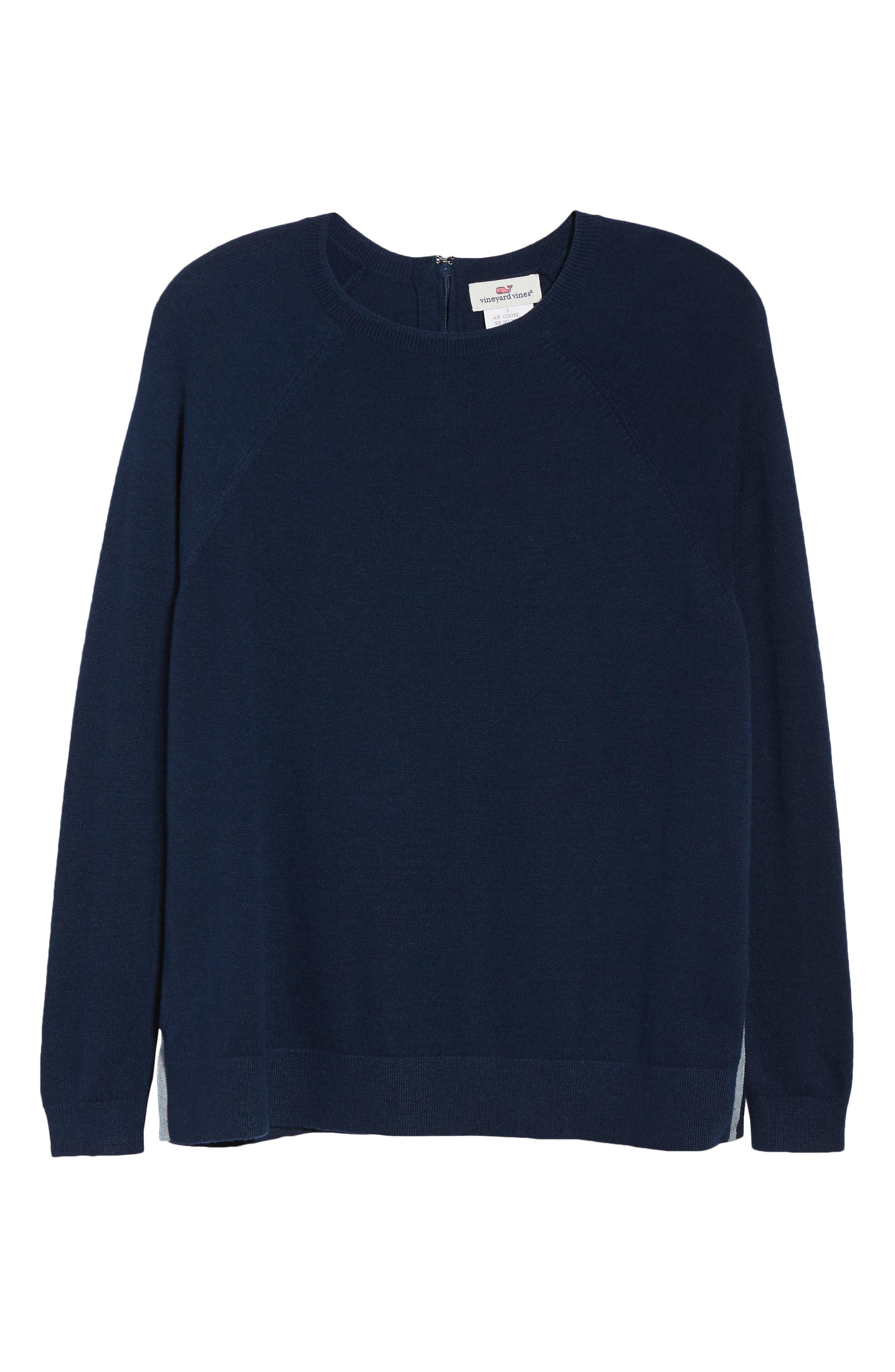 Back Zip Crewneck Sweater,                             Alternate thumbnail 6, color,                             476