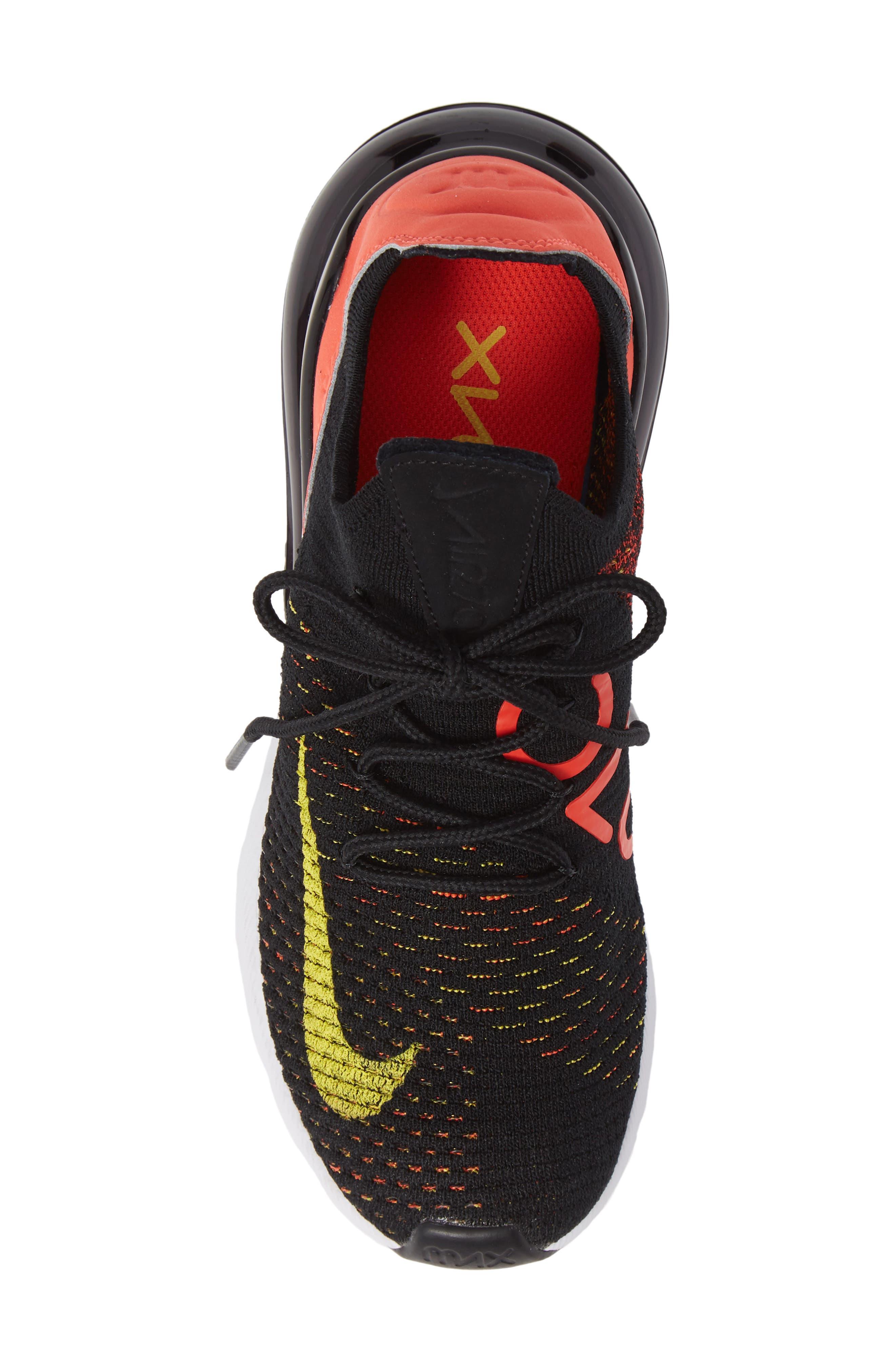 Air Max 270 Flyknit Sneaker,                             Alternate thumbnail 5, color,                             BLACK/ YELLOW STRIKE/ CRIMSON