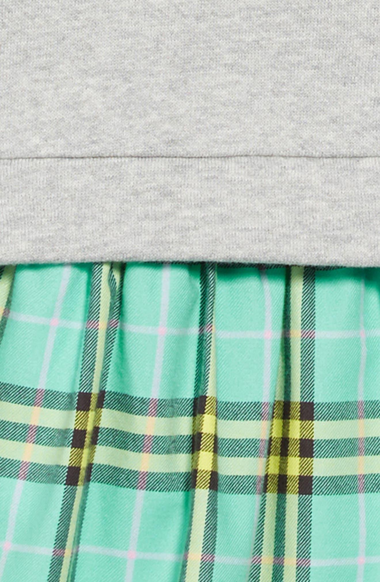 Francine Popover Dress,                             Alternate thumbnail 3, color,                             BRIGHT TURQUOISE CHECK