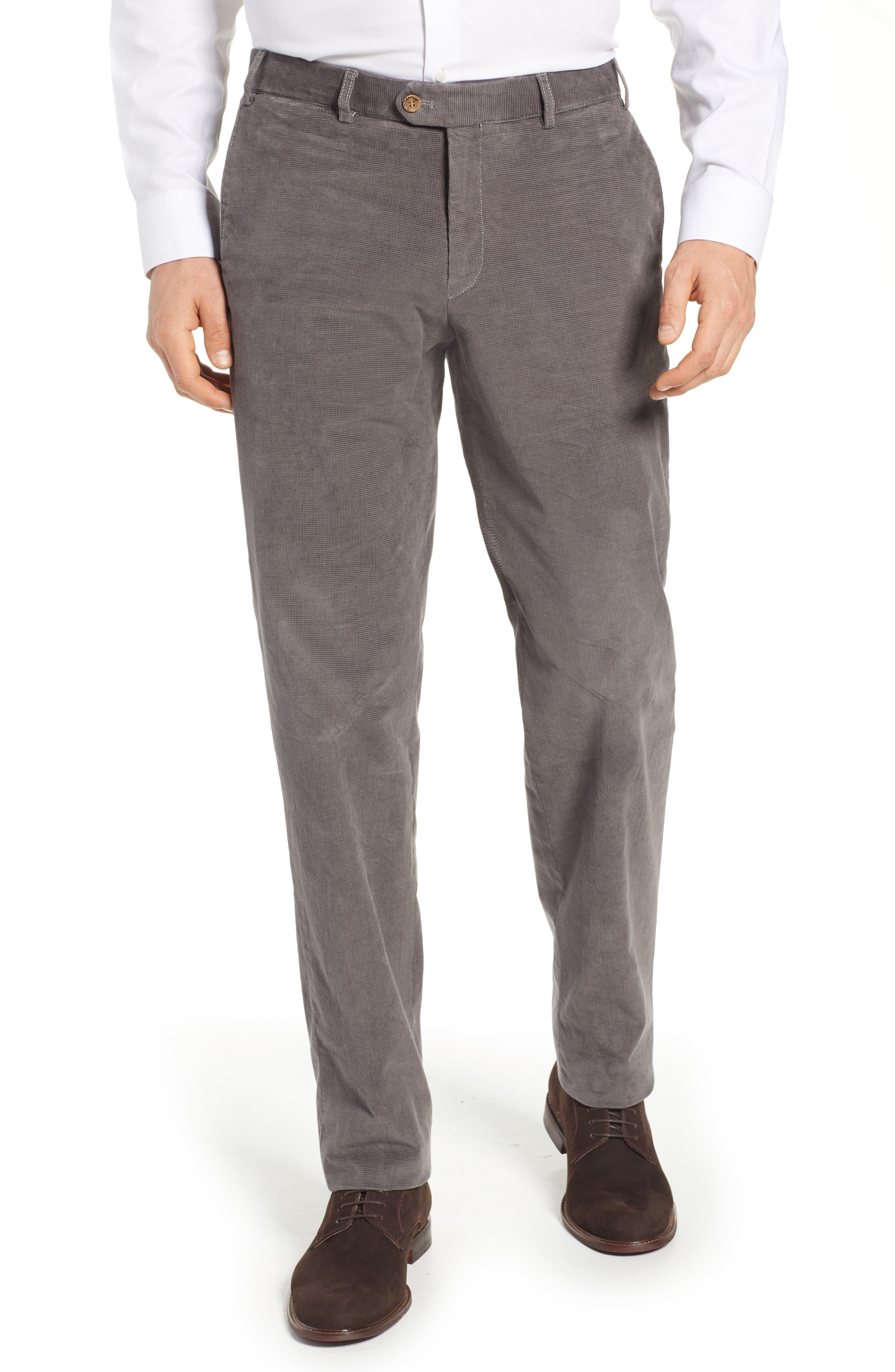 Pero Trim Fit Stretch Flat Front Trousers,                             Main thumbnail 1, color,                             TAUPE