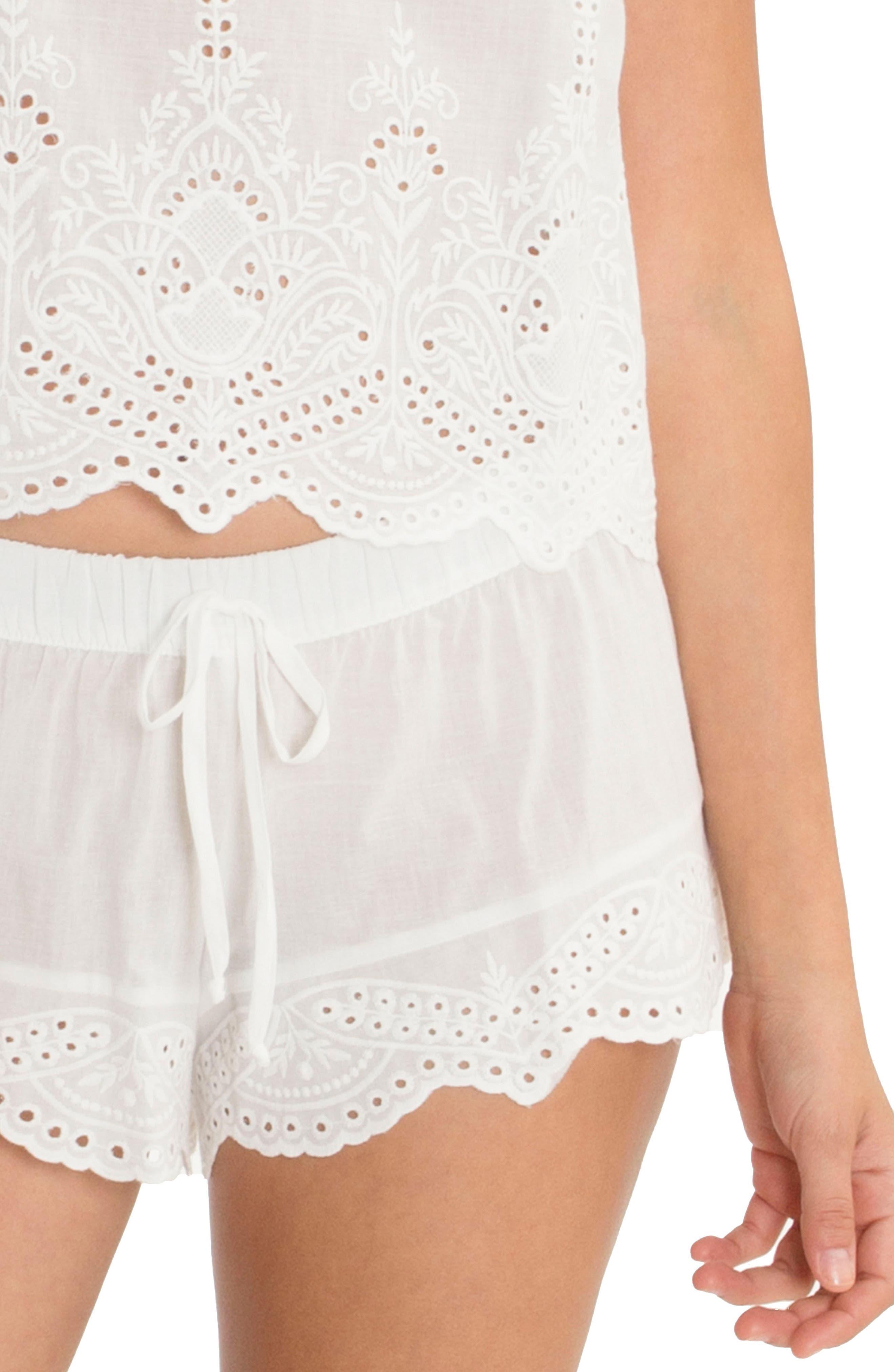 Eyelet Cotton Short Pajamas,                             Alternate thumbnail 4, color,                             900