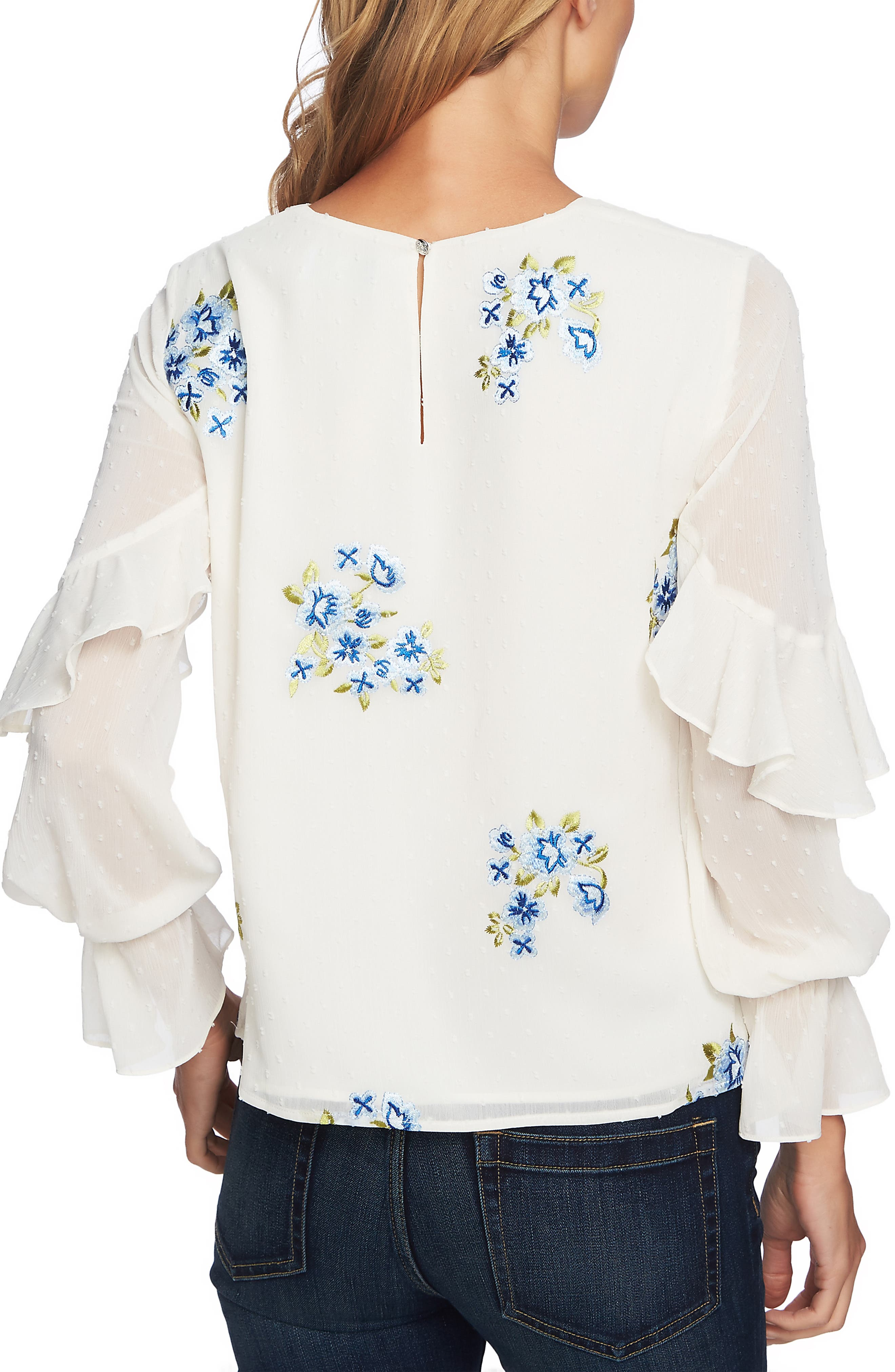 Embroidered Ruffle Top,                             Alternate thumbnail 2, color,                             ANTIQUE WHITE